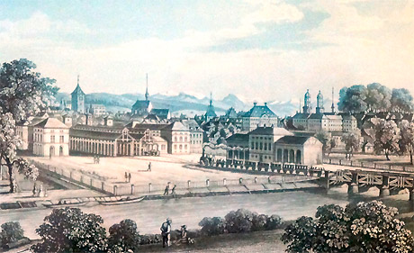 Bahnhof Zürich um 1859. (Stich von Johann-Baptist Isenrin)g