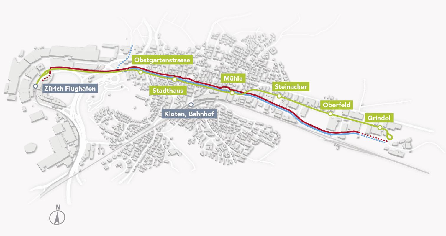Um rund drei Kilometer soll das Tramgleis verlängert werden, wo sich heute noch die Wendeschlaufe der Glattalbahn befindet.