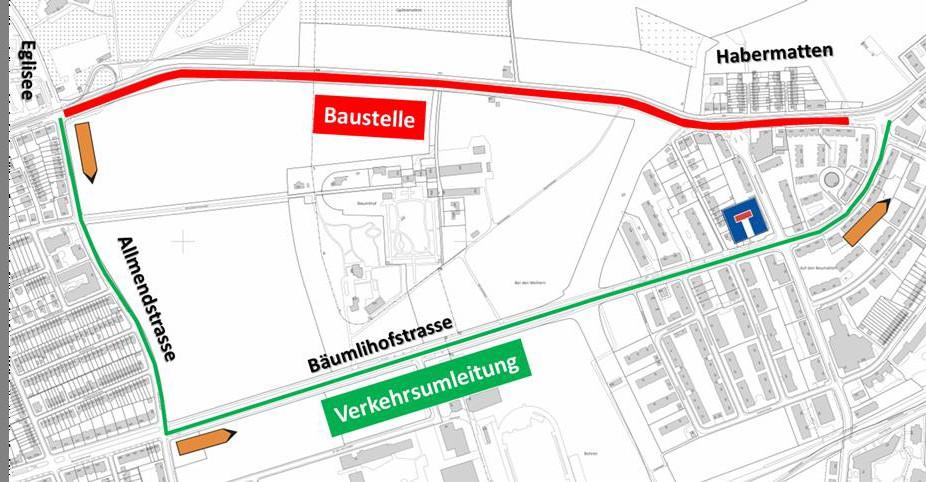Plan zur Verkehrsumleitung nach Riehen Dorf in Basel-Stadt