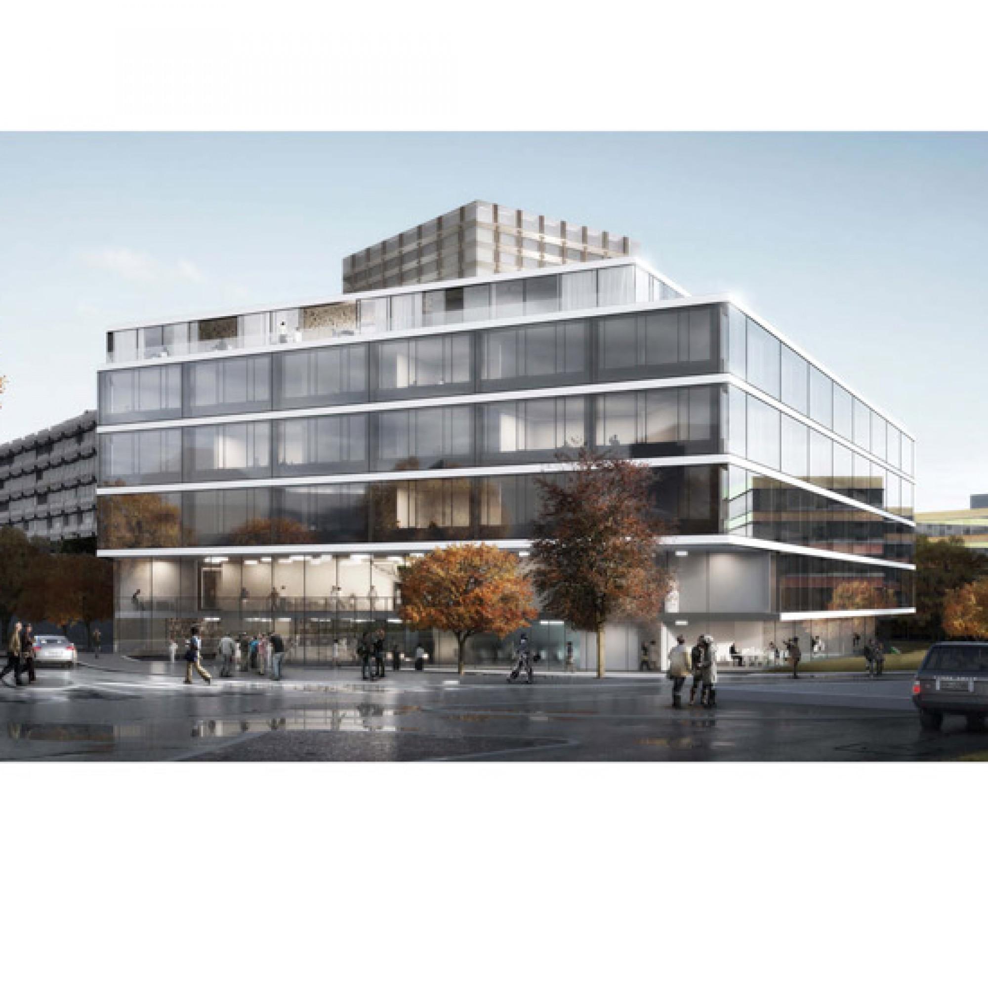 Forschungs- und Lehrgebäude von der Strasse her gesehen. (PD)