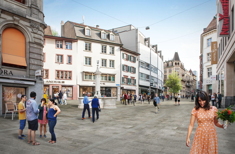 Visualisierung der oberen Freien Strasse in Basel