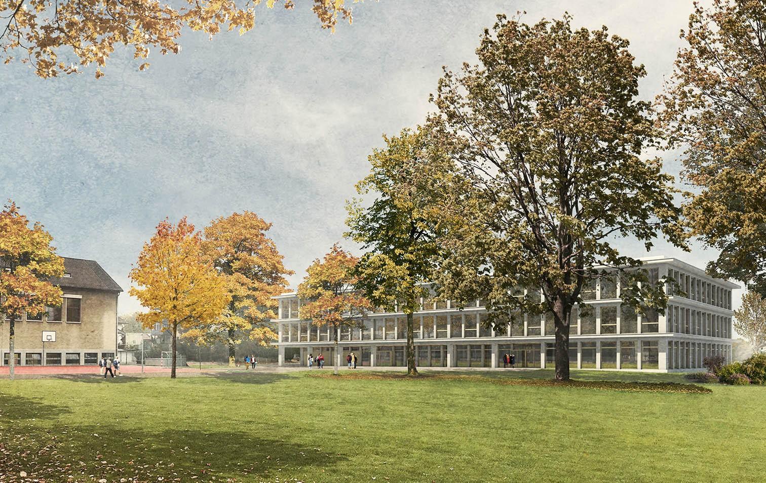 Visualisierung des Erweiterungsbaus des Gymnasiums Burgdorf