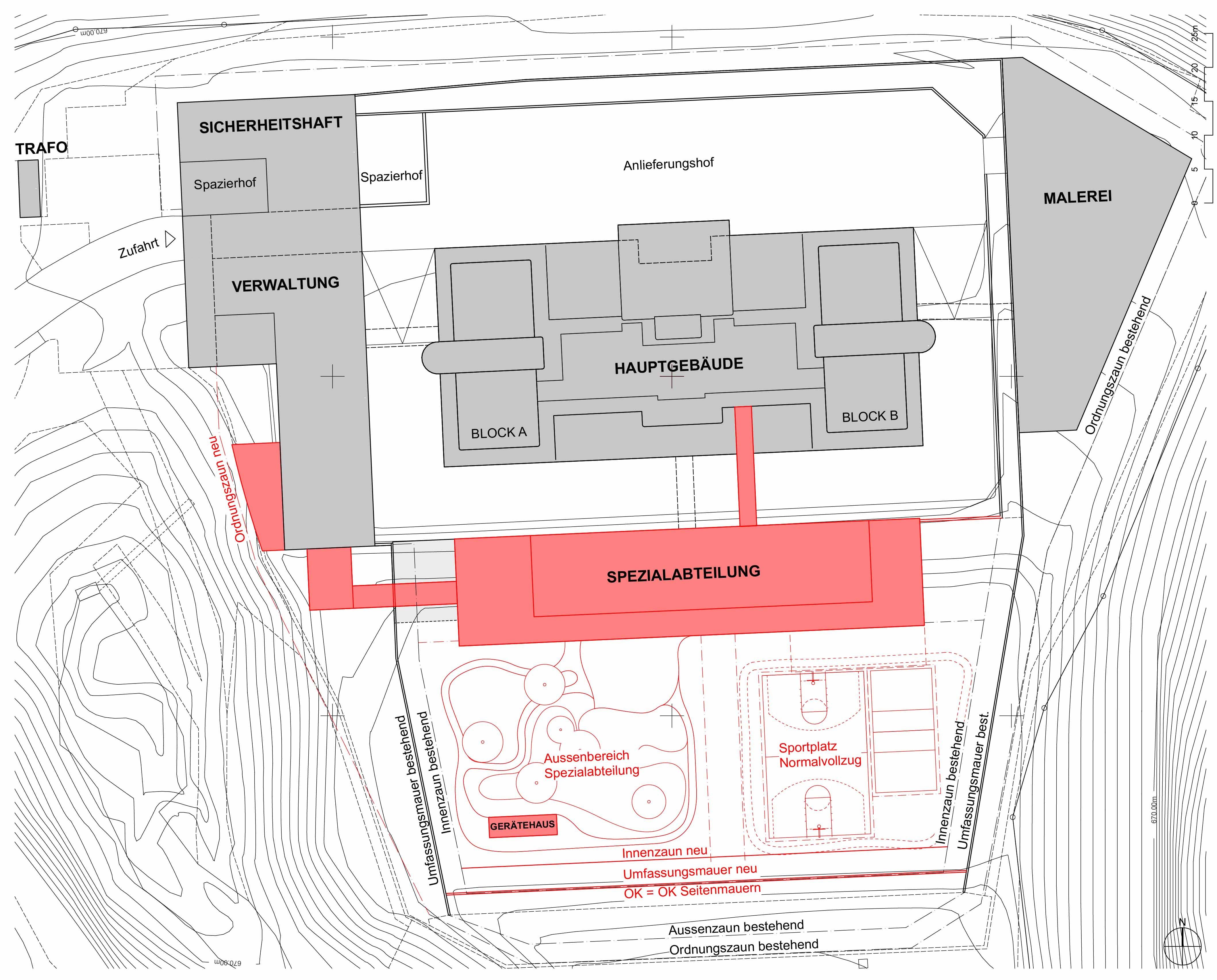 Situationsplan Justizvollzugsanstalt Bostadel
