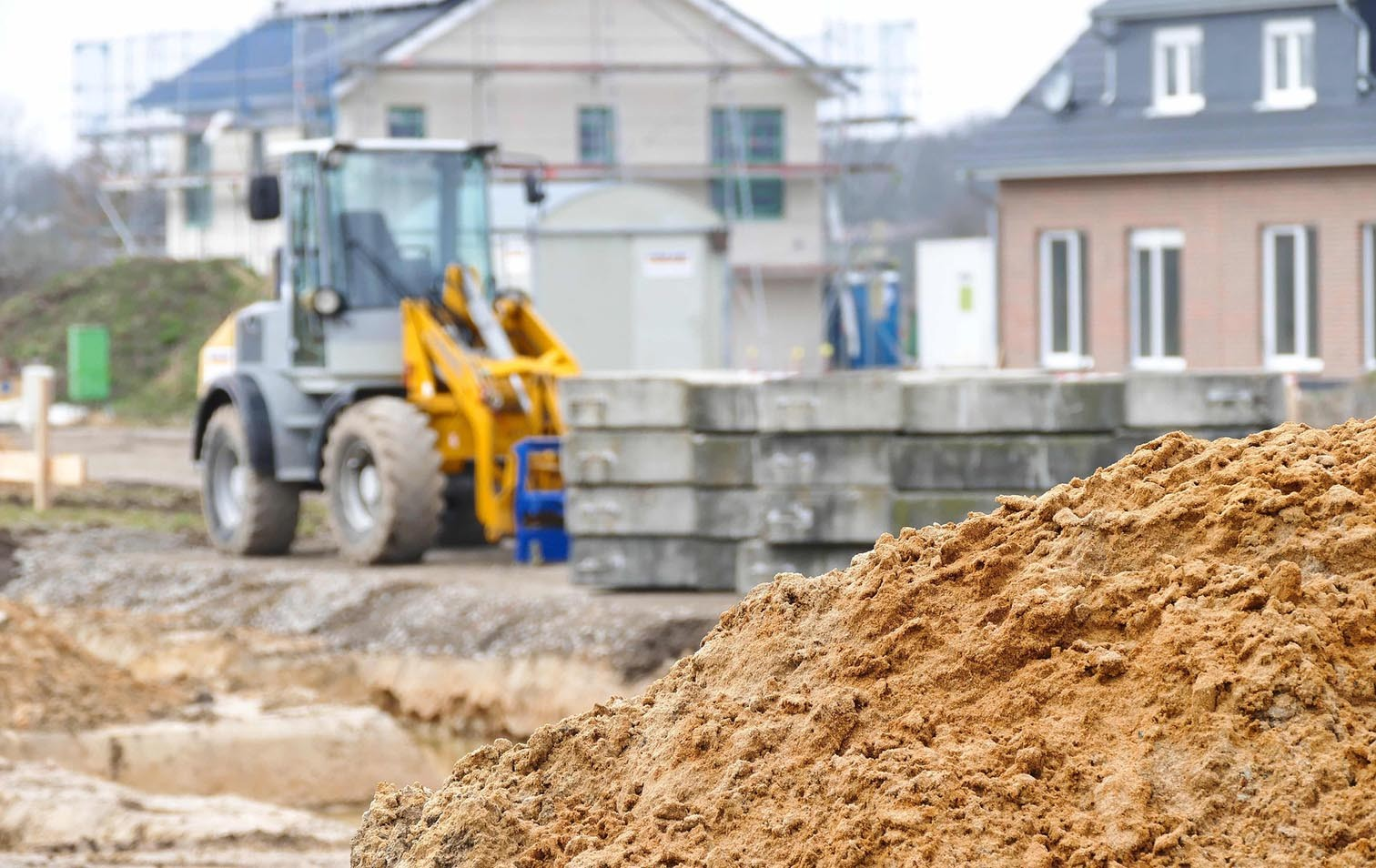 Baustelle für ein Einfamilienhaus