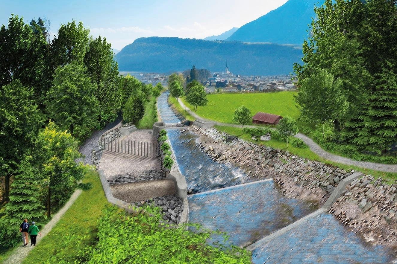 Visualisierung Hochwasserschutz Kleine Schliere in Obwalden