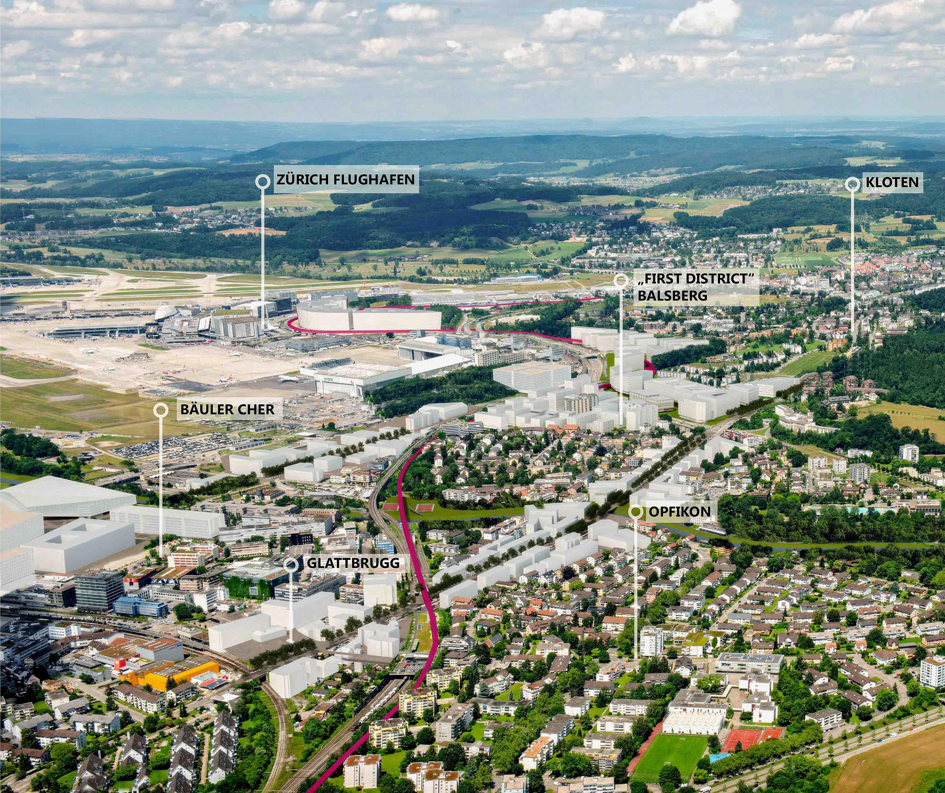 Gebietsübersicht Südwesten Flughafen Zürich