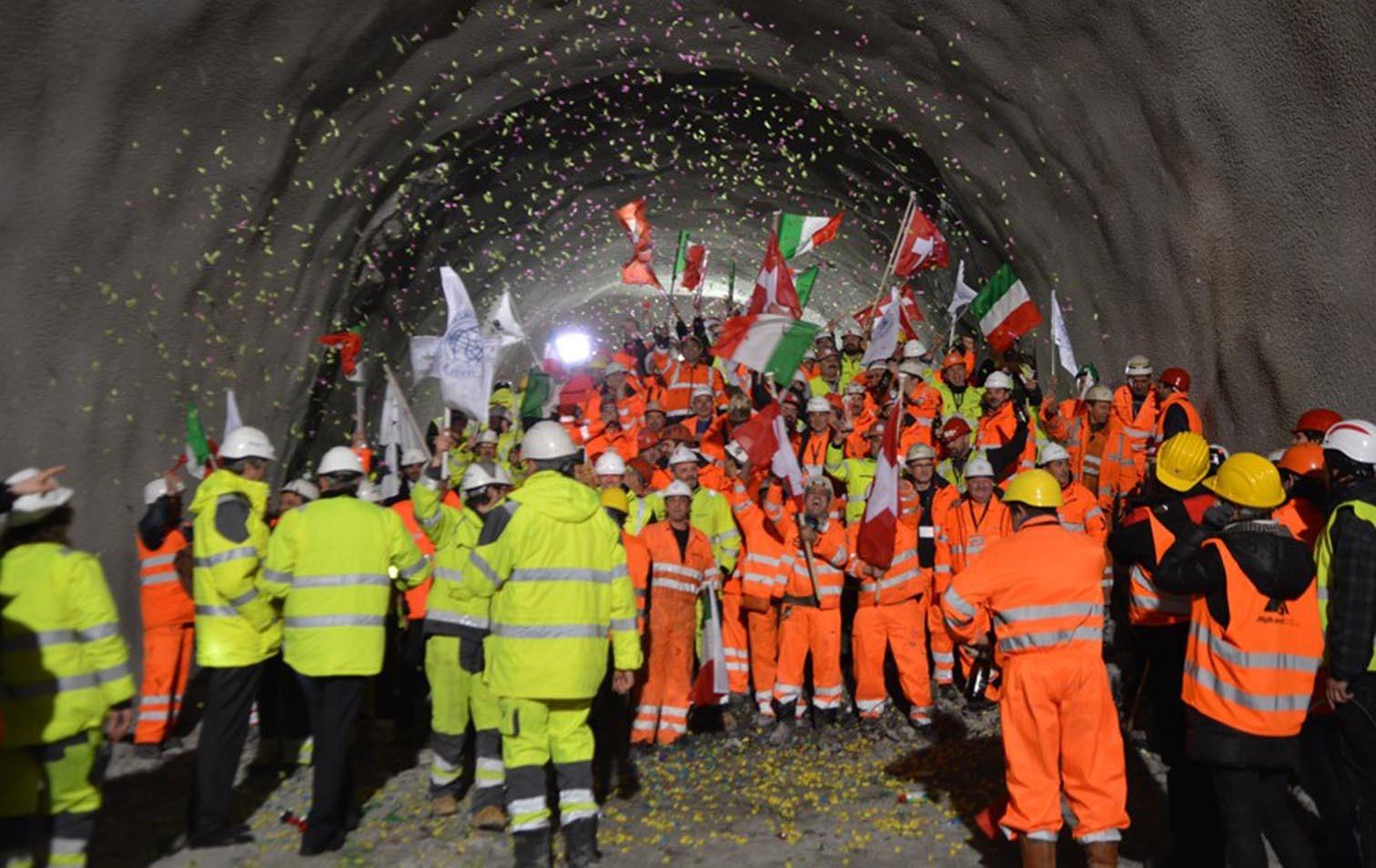 Hauptdurchschlag beim Ceneri-Basistunnel 2016