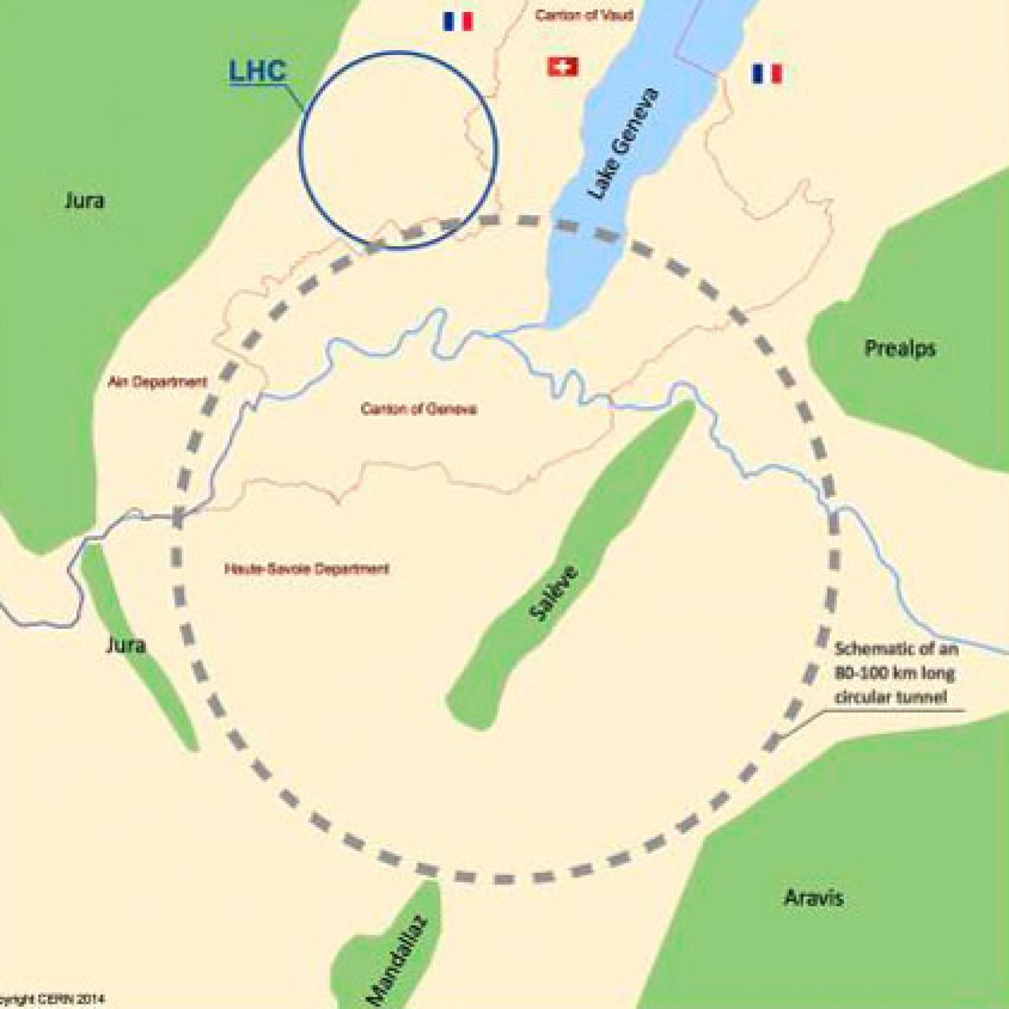 Der kreisförmige Tunnel reicht bis nach Frankreich. (PD)