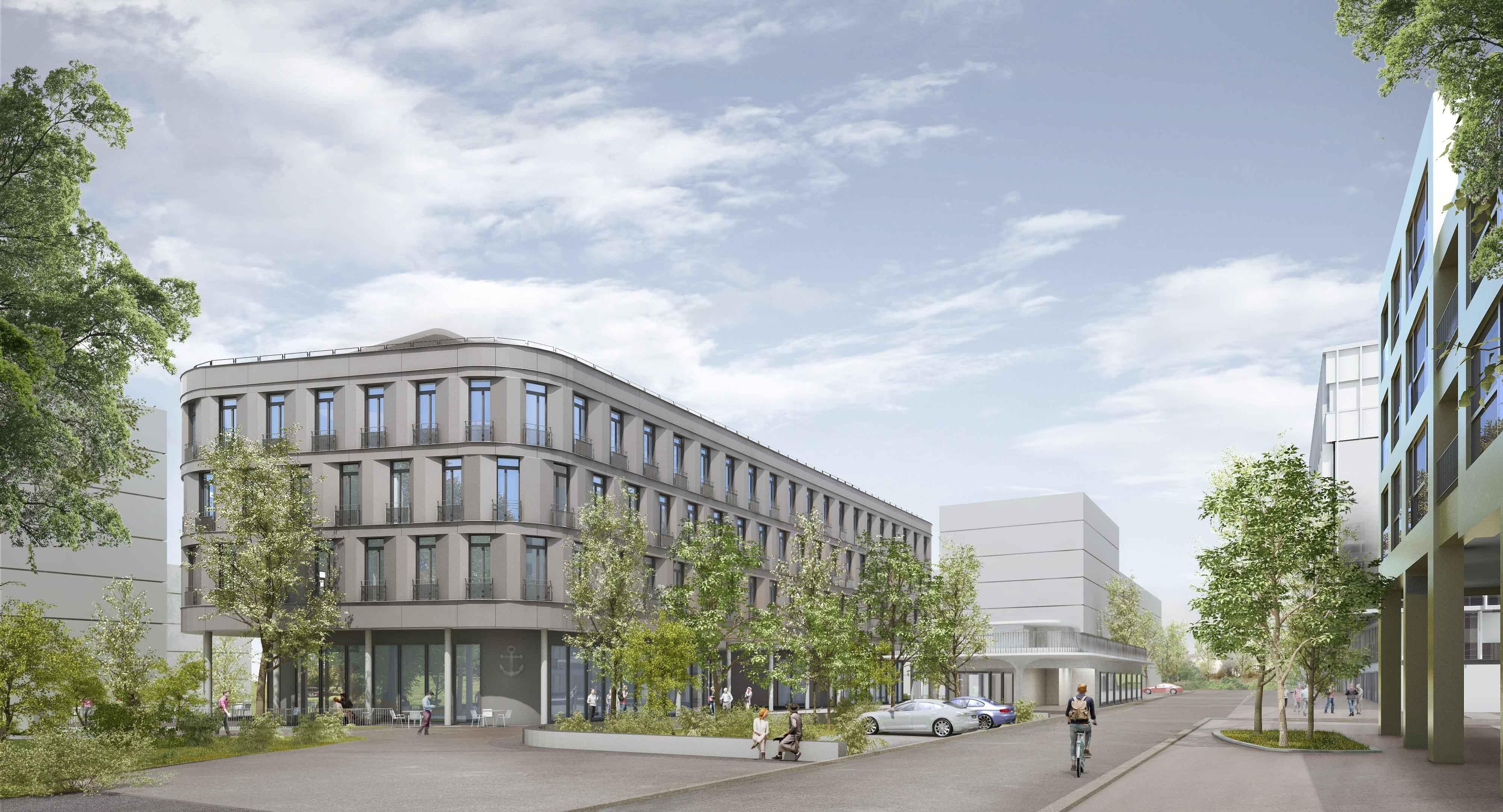 Visualisierung Zentrumsgebäude an der Lorzenparkstrasse in Cham