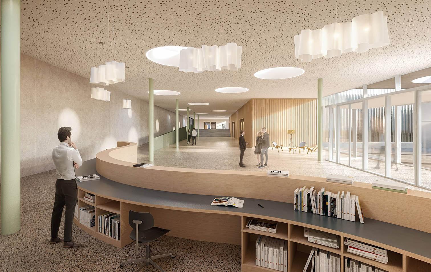 Visualisierung Eingangsbereich im neuen Multifunktionspavillon beim Campus Sursee