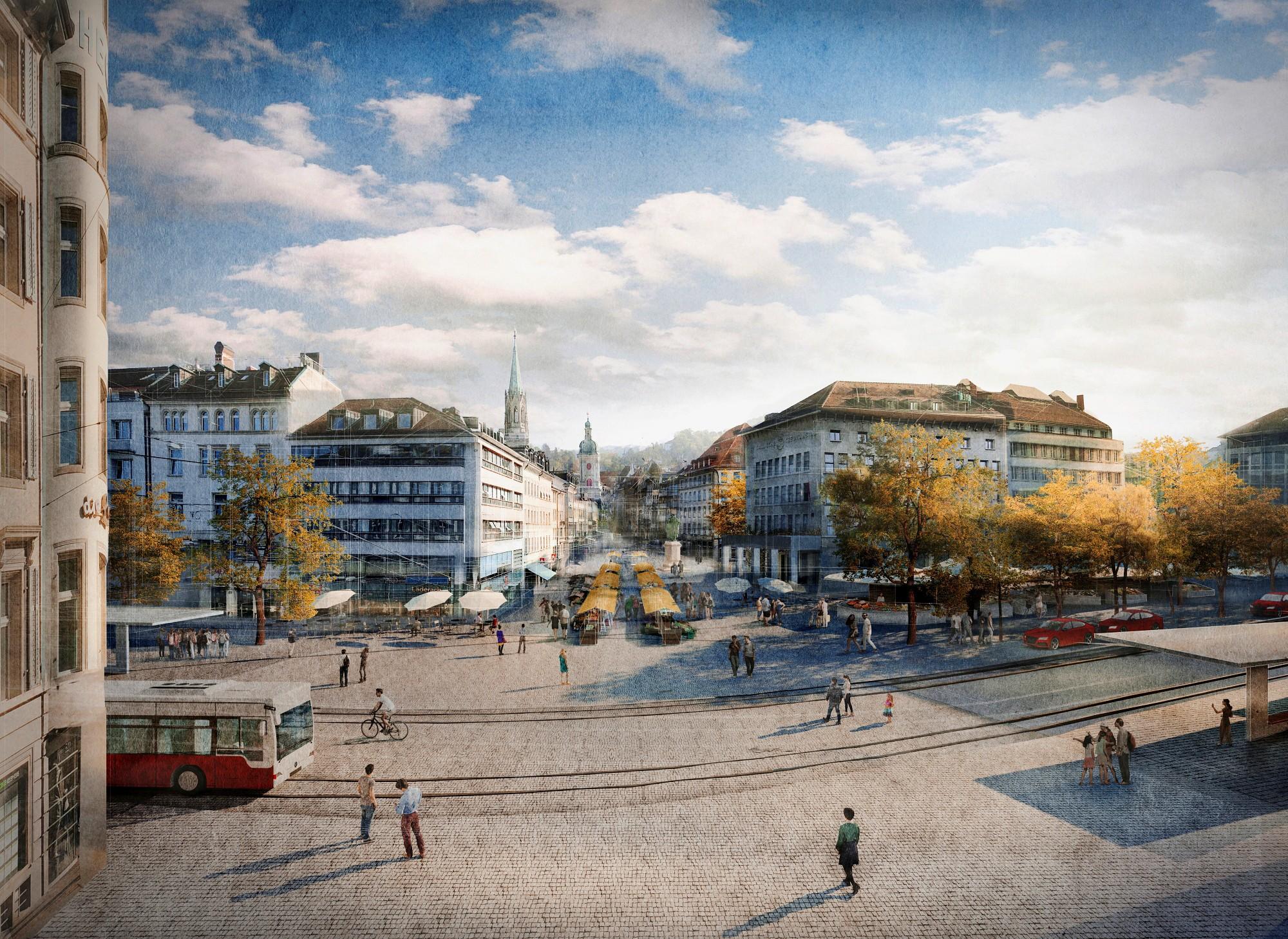 Visualisierung Neugestaltung Marktplatz in St. Gallen