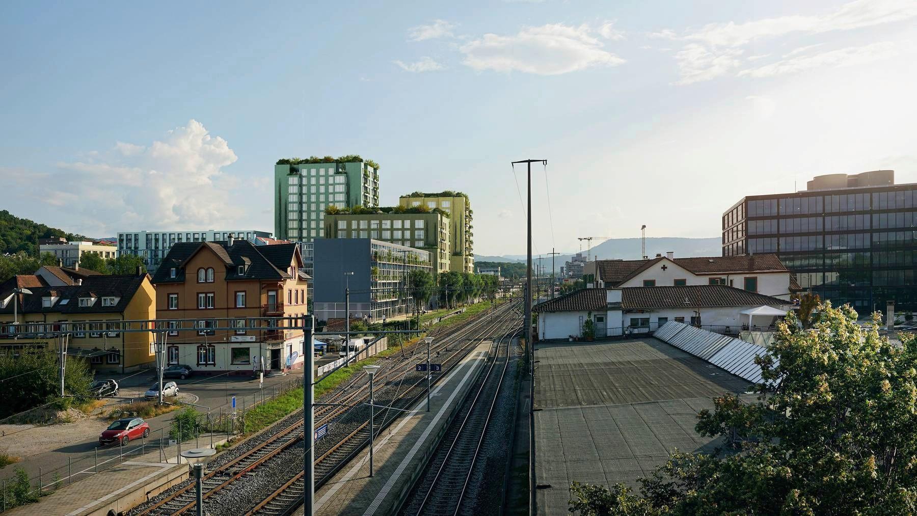 Visualisierung neues Wohnquartier auf Industrieareal in Münchenstein
