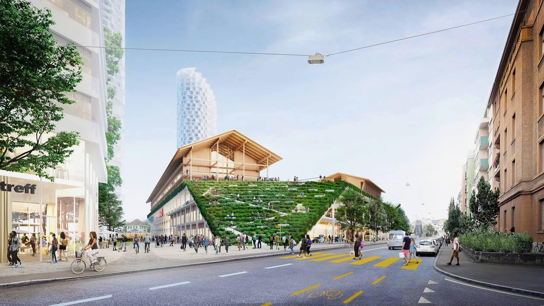 Visualisierung neues Sekundarschulhaus auf Dreispitz-Areal in Basel