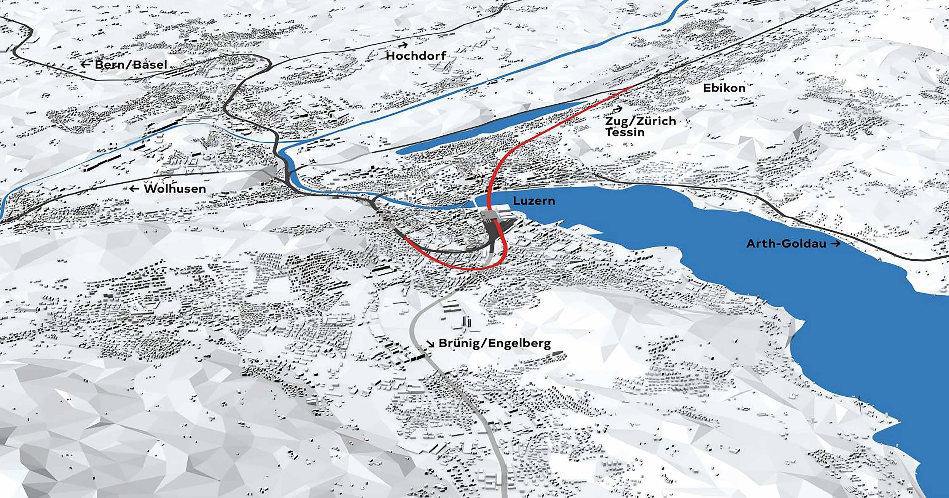 Linienführung des neuen Durchgangsbahnhofs Luzern.
