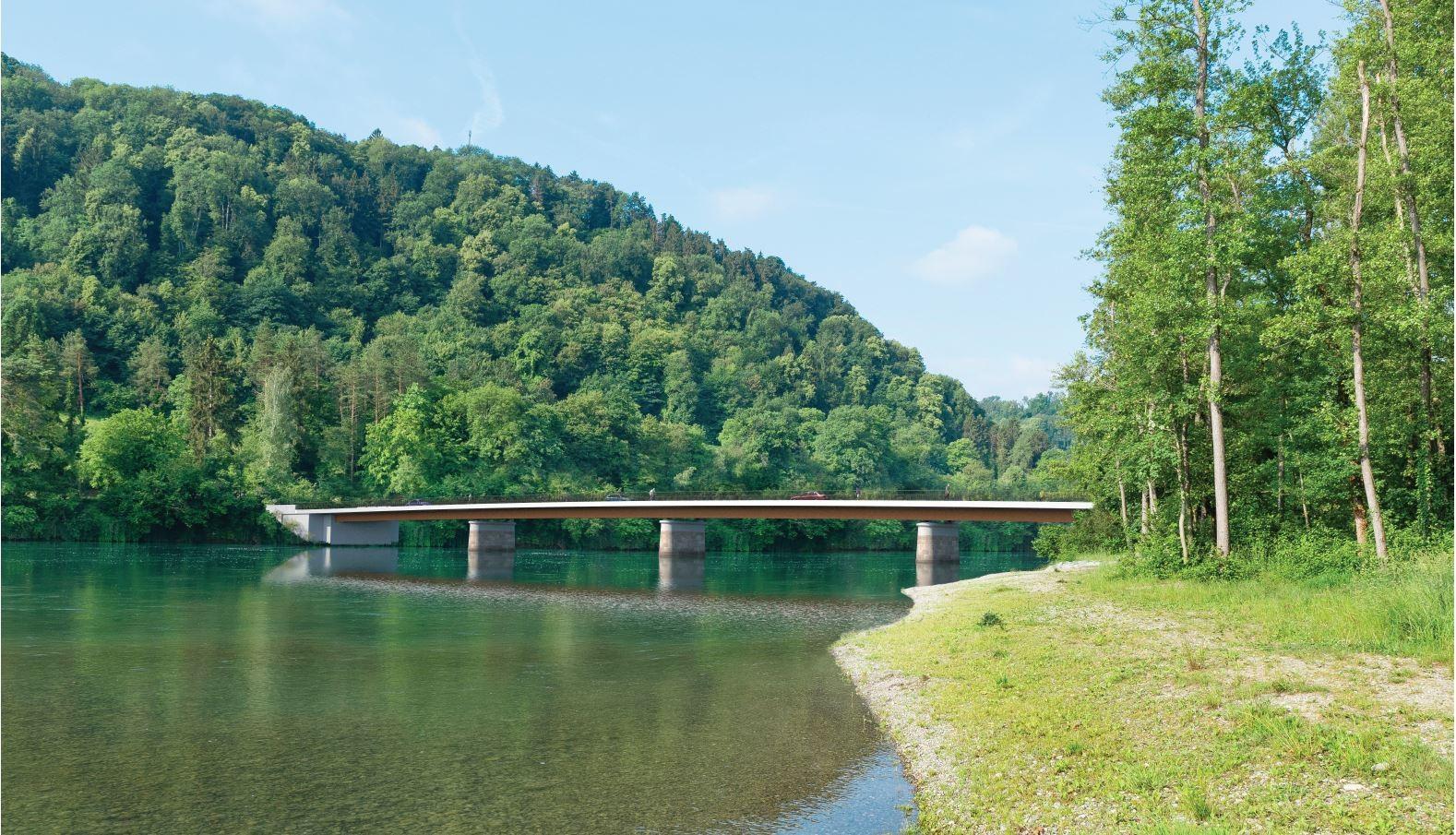 Visualisierung Neubau Rheinbrücke bei Flaach und Rüdlingen