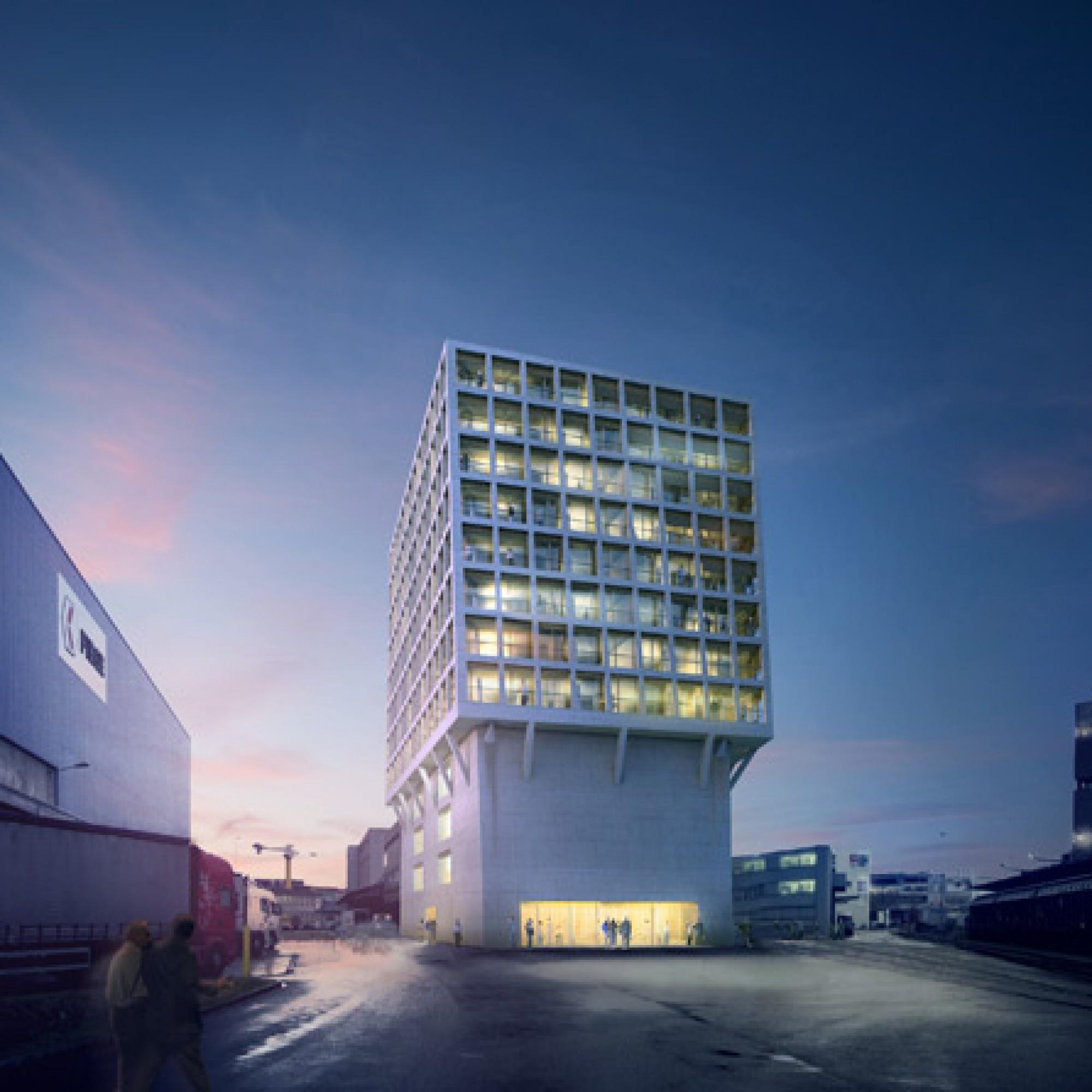 Ähnlichkeiten zwischen dem Hamburger «Leuchtturmprojekt» und dem neuen Architektenarchiv von Herzog & de Meuron auf dem Basler Dreispitz-Areal sind durchaus erkennbar, denn die Architekten setzen erneut auf das Konzept, ein zweites Gebäude auf ein recht ö