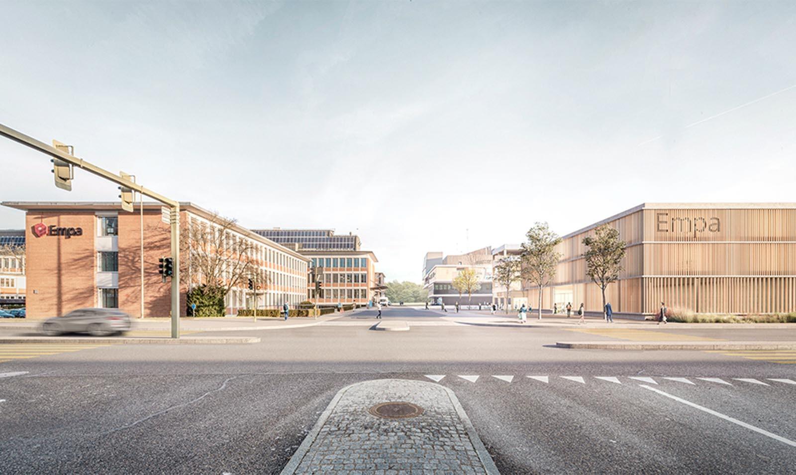 Visualisierung neues Parkhaus der Empa