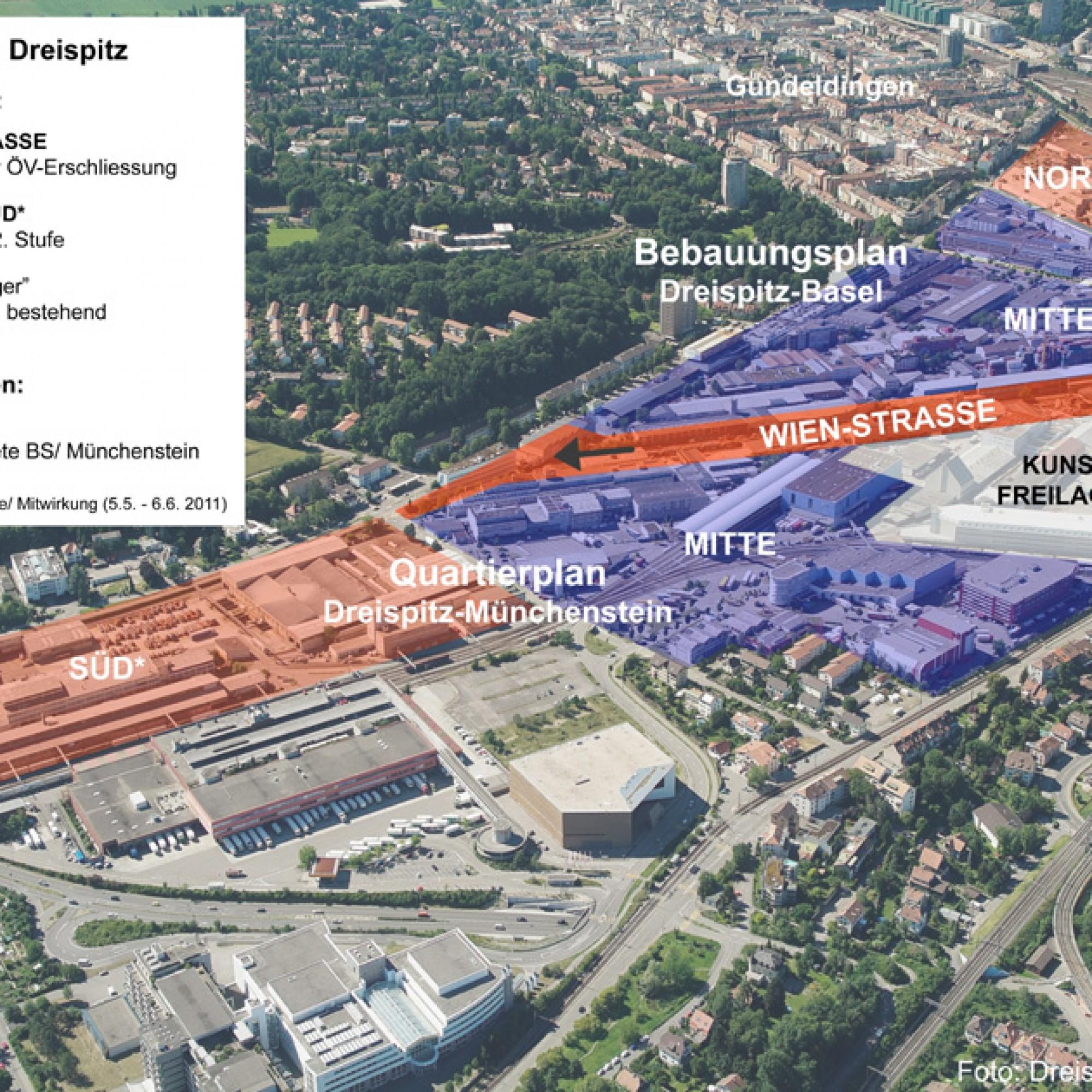 Luftbild von Basel mit dem Dreispitzareal (Bild: Planungsamt Basel)