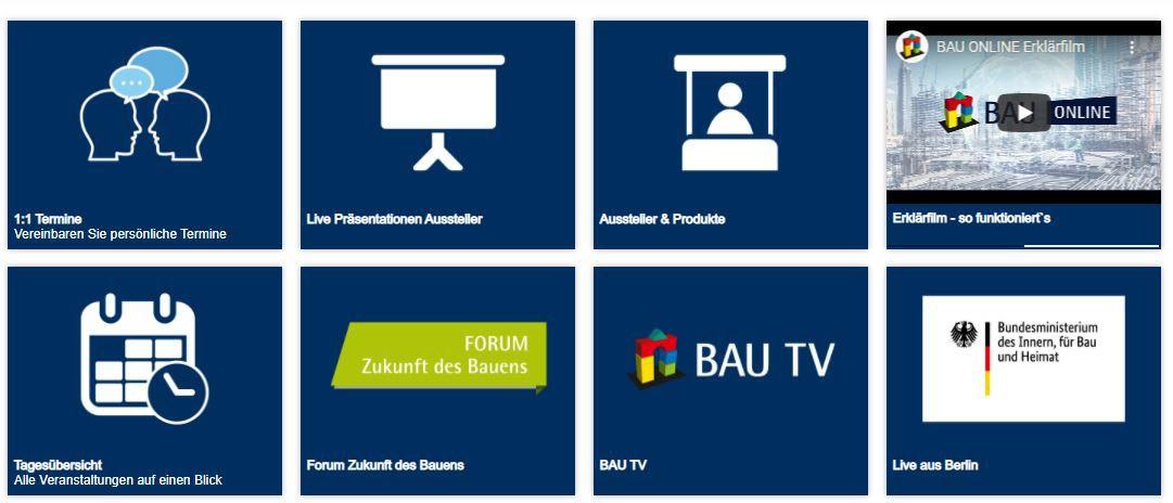 Screenshot Startseite der virtuellen Bau München 2021