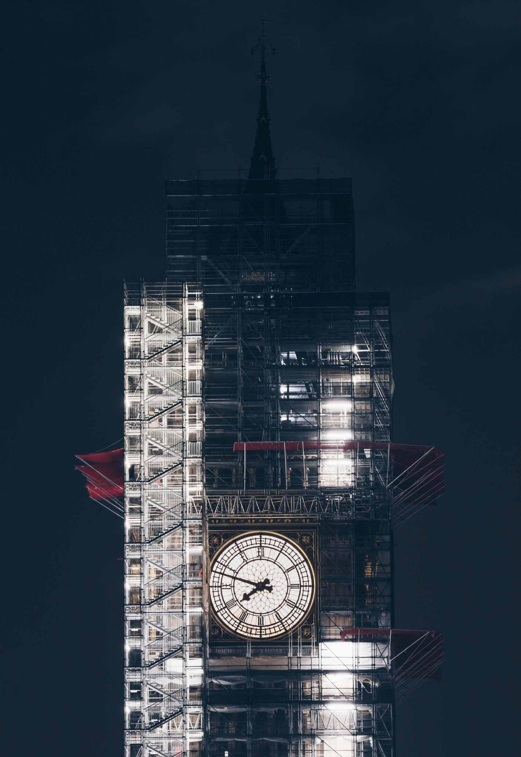 Renovationsarbeiten Big Ben in London