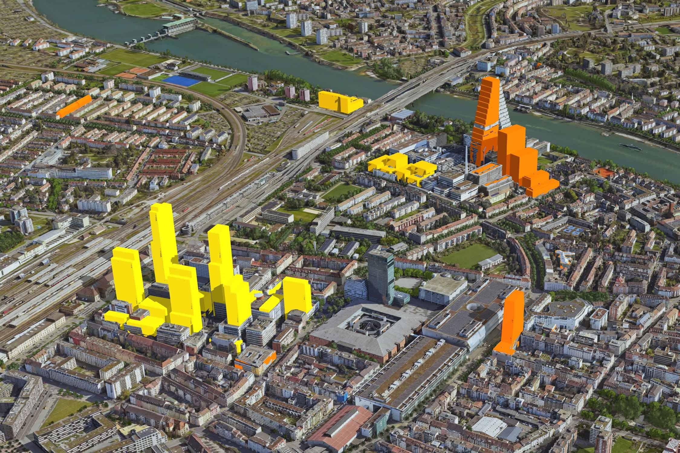 3D-Luftbild Rosental in Basel