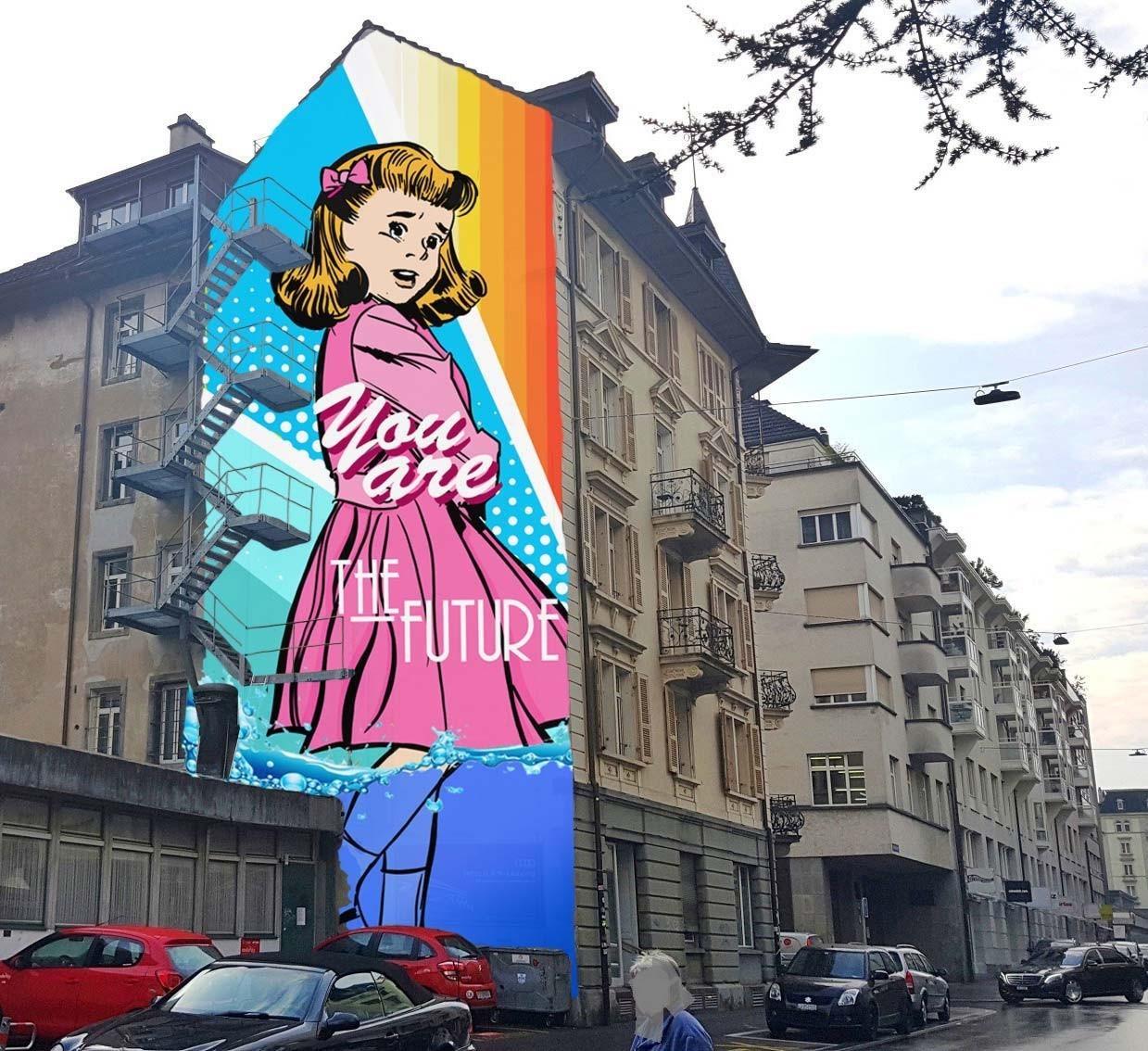 Street-Art-Wandbild Entwurf von BustArt