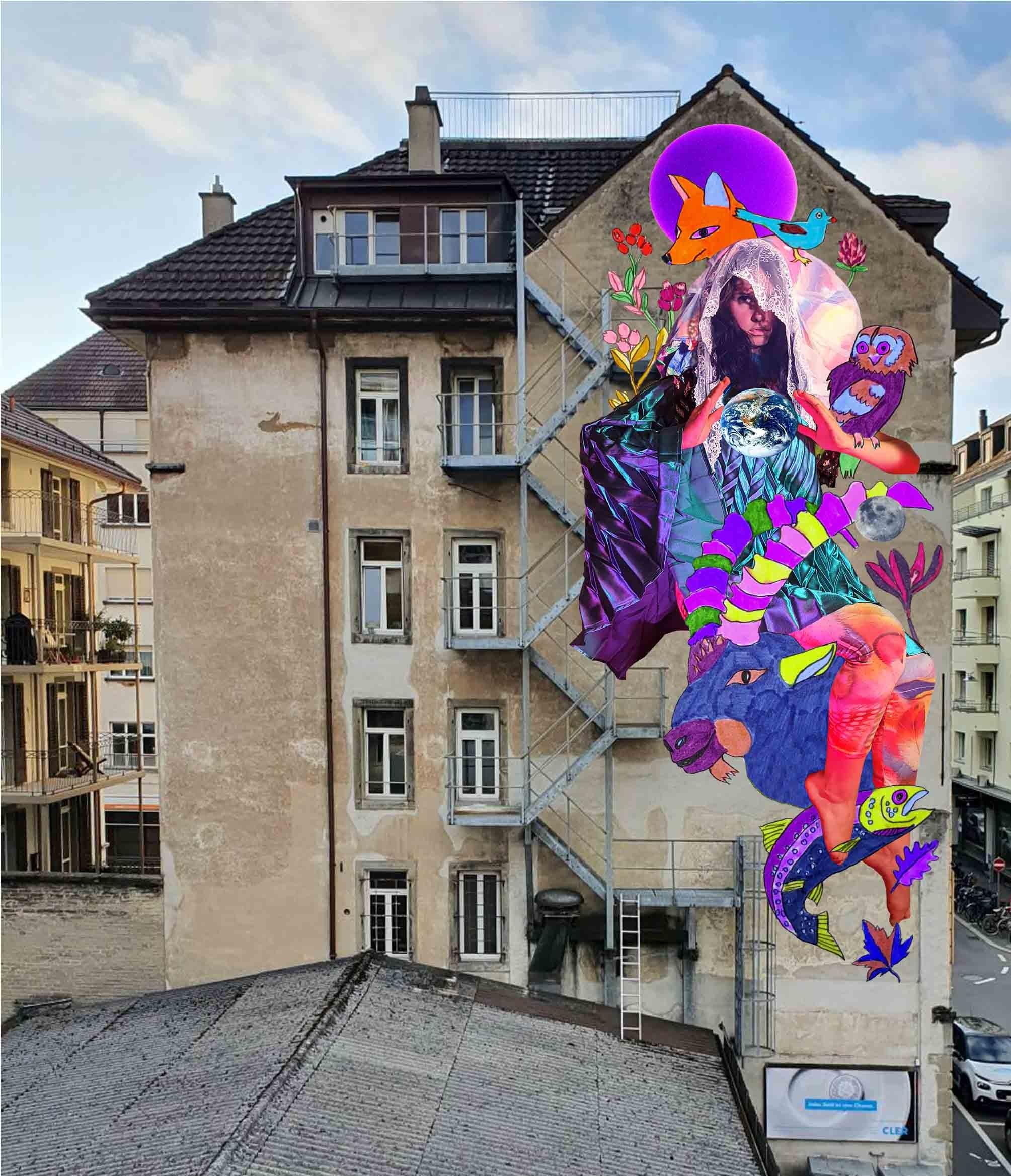 Street-Art-Wandbild Entwurf von Husmann Tschaeni