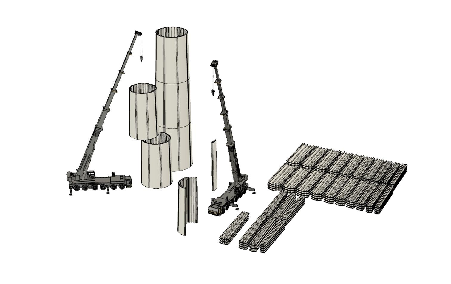 Visualisierung Montage Holz-Windrad