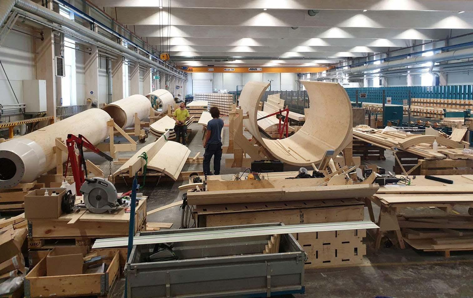Vorfertigung Windrad aus Holz