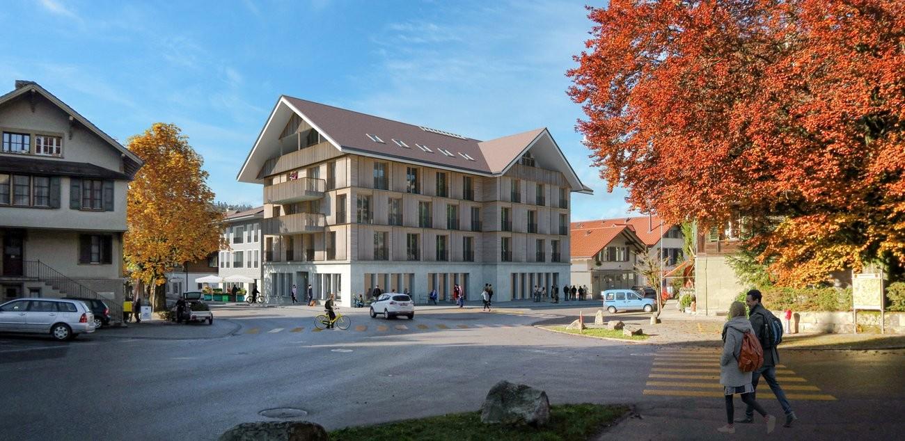 Visualisierung Überbauung am Bärenplatz in Langnau