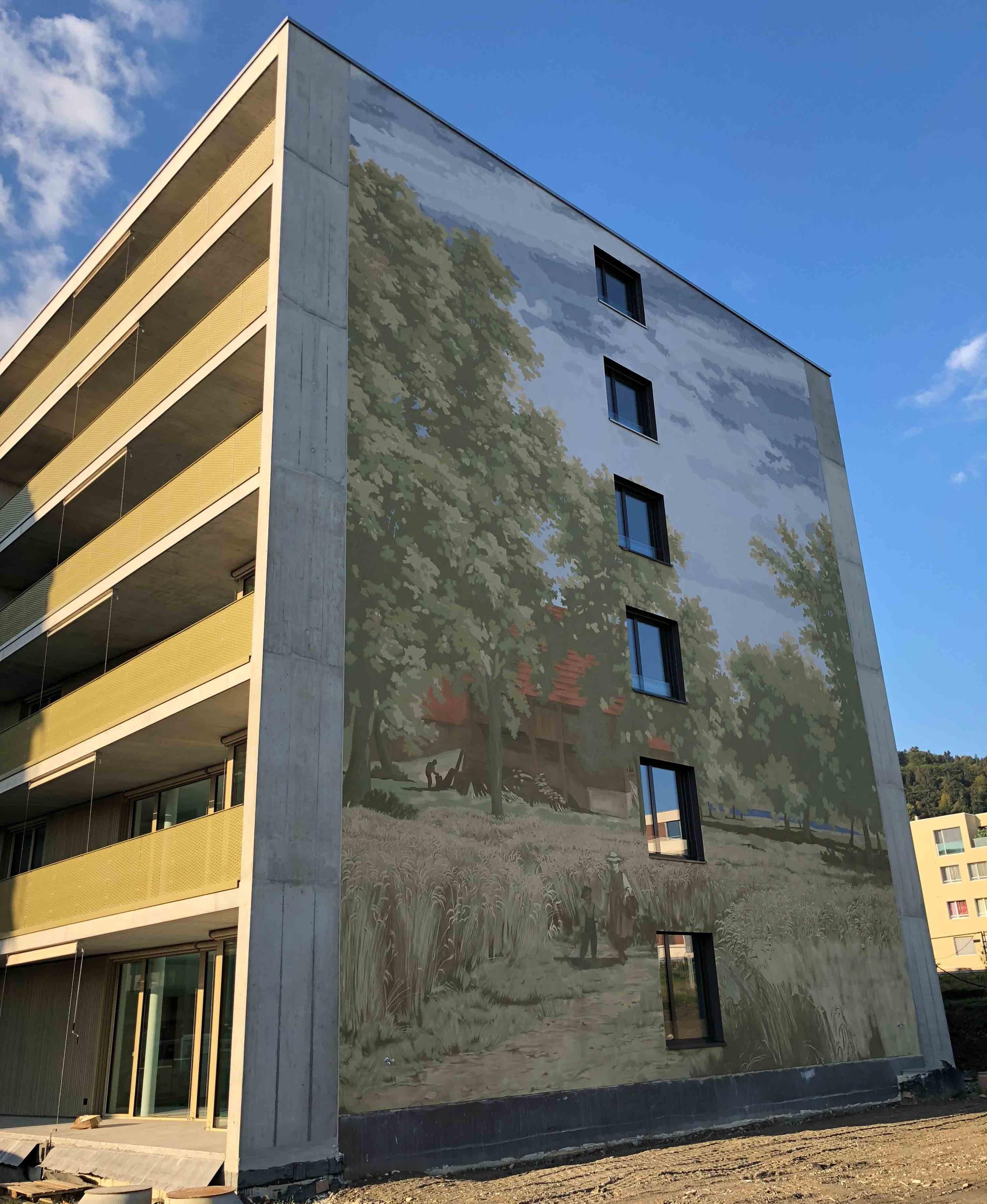 Wandbild auf Schweighofareal in Kriens