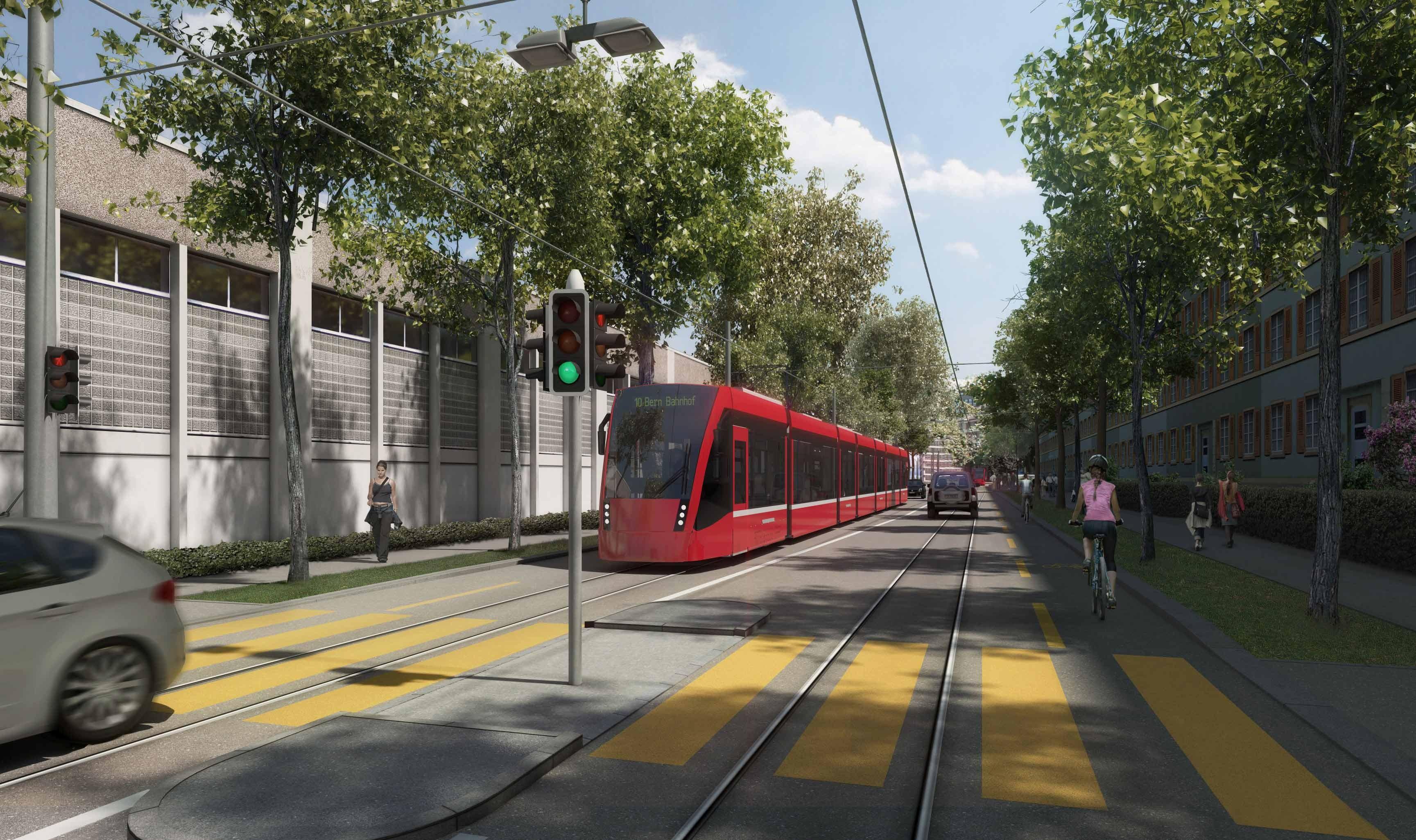 Visualisierung Tram Bern-Ostermundigen Viktoriastrasse.