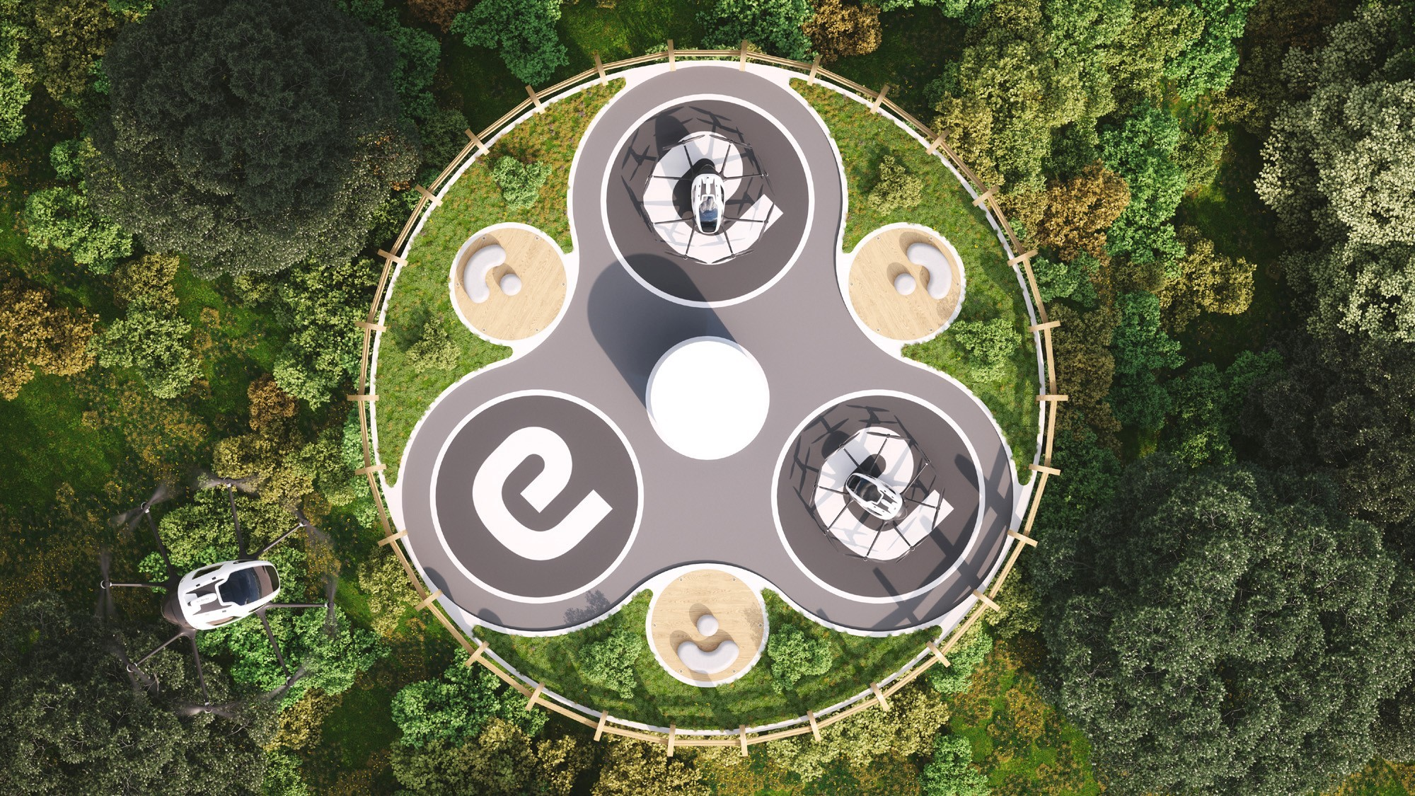 Visualisierung Landestationen für EHang-Drohnen