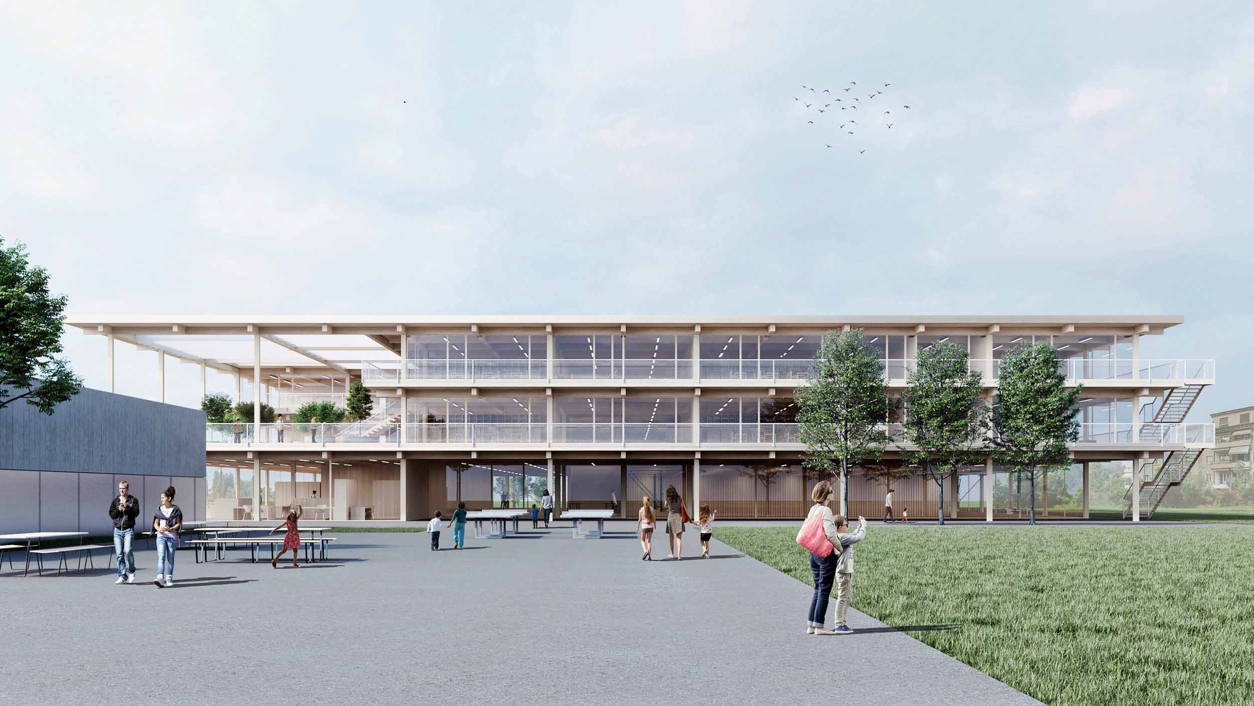 Visualisierung Schulhaus Champagne Biel