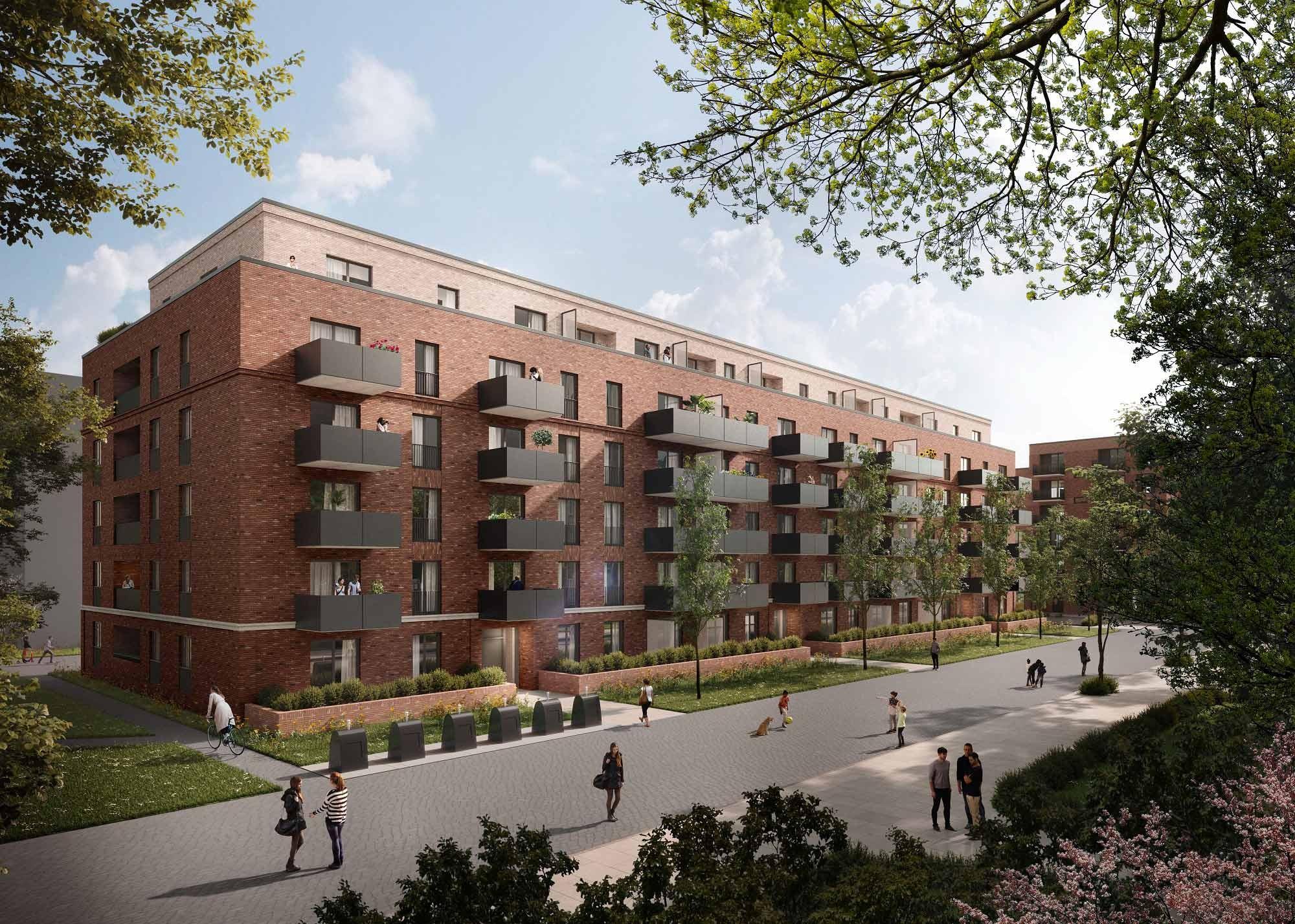 Visualisierung Wohnbauprojekt auf Turley-Areal in Mannheim