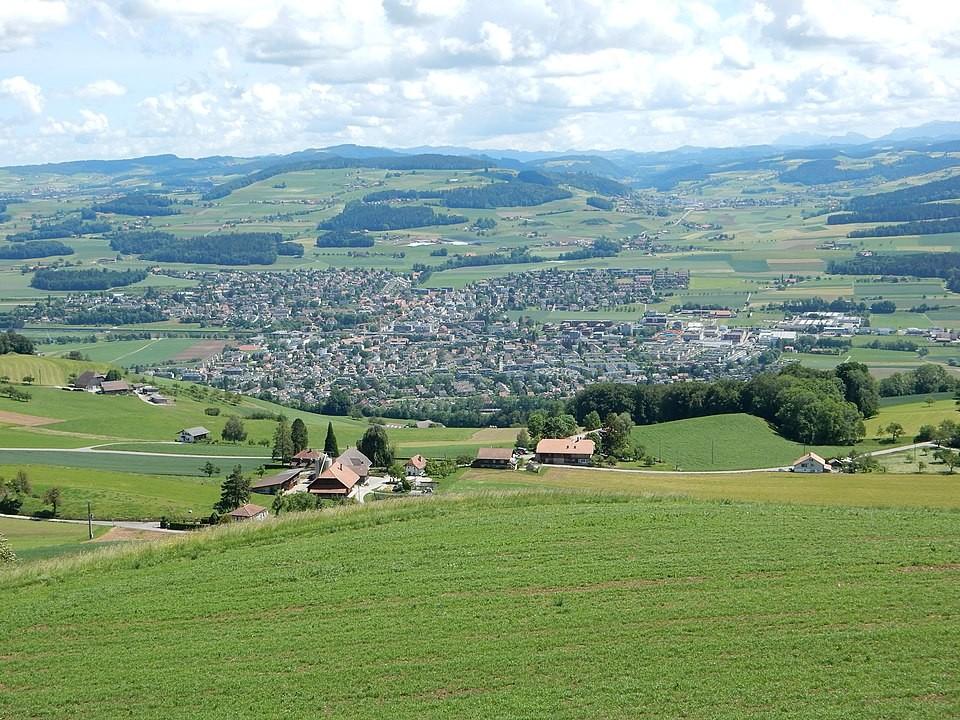 Münsingen vom Chutzen (Belpberg) aus gesehen