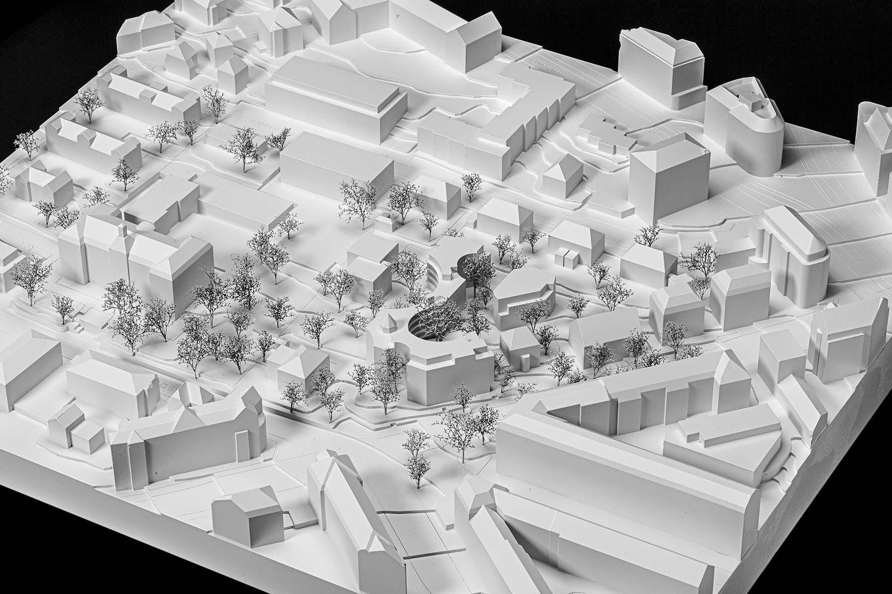 Modellfoto Siegerprojekt Wohnsiedlung Rotbuch VOLIÈRE