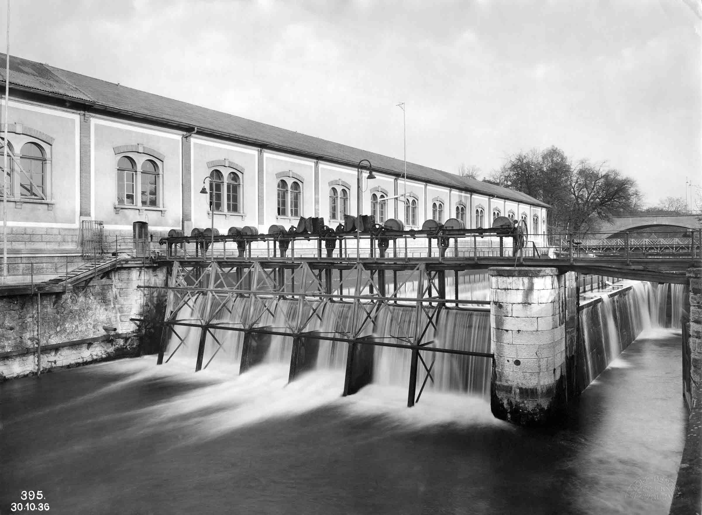 Kraftwerk Letten mit Pumphaus um 1936