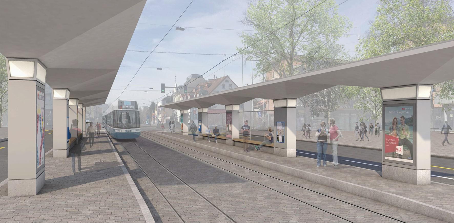 Visualisierung neue Tramhaltestelle Zehntenhausplatz in Zürich-Affoltern