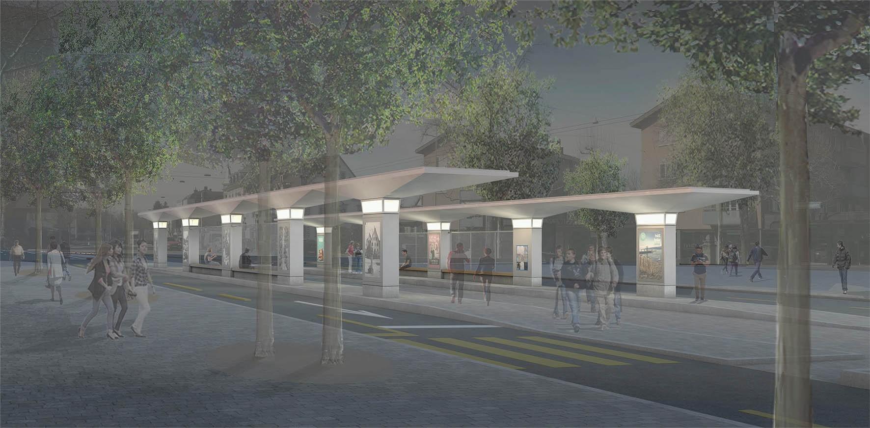 Visualisierung neue Tramhaltestelle Zehntenhausplatz in Zürich-Affoltern bei Nacht