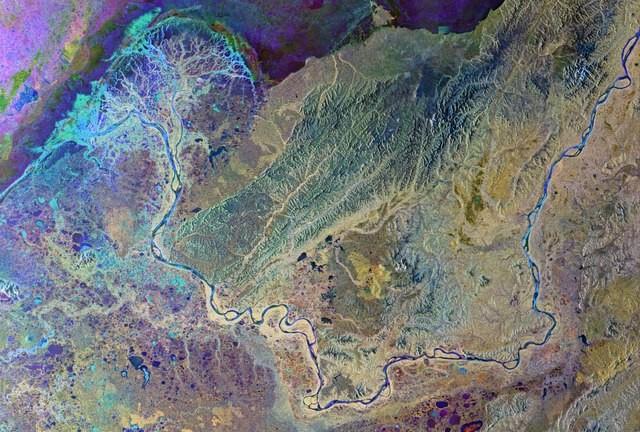 Satellitenbild des Yukon-Delta