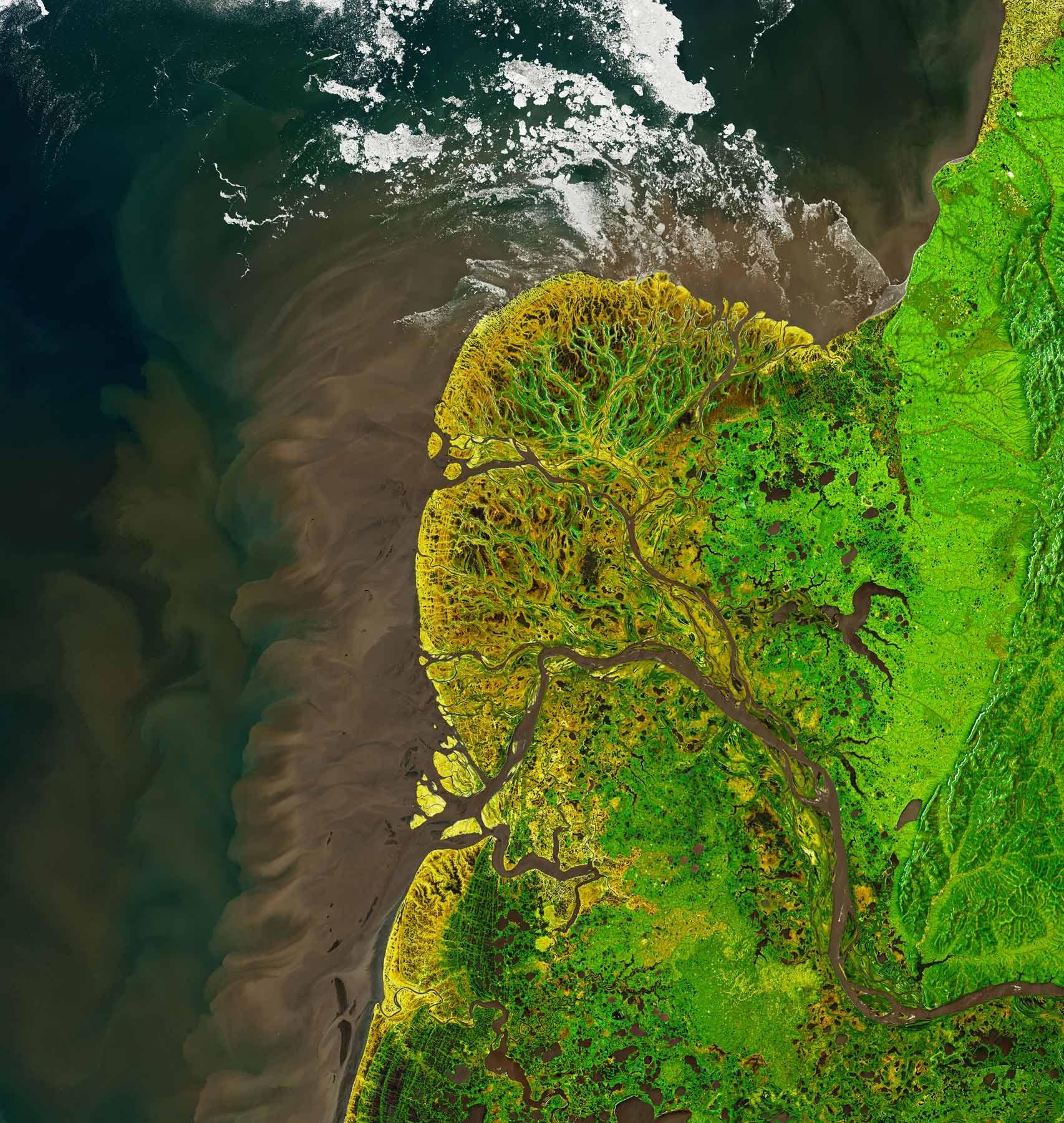 Satellitenbild des Yukon-Delta von 2021