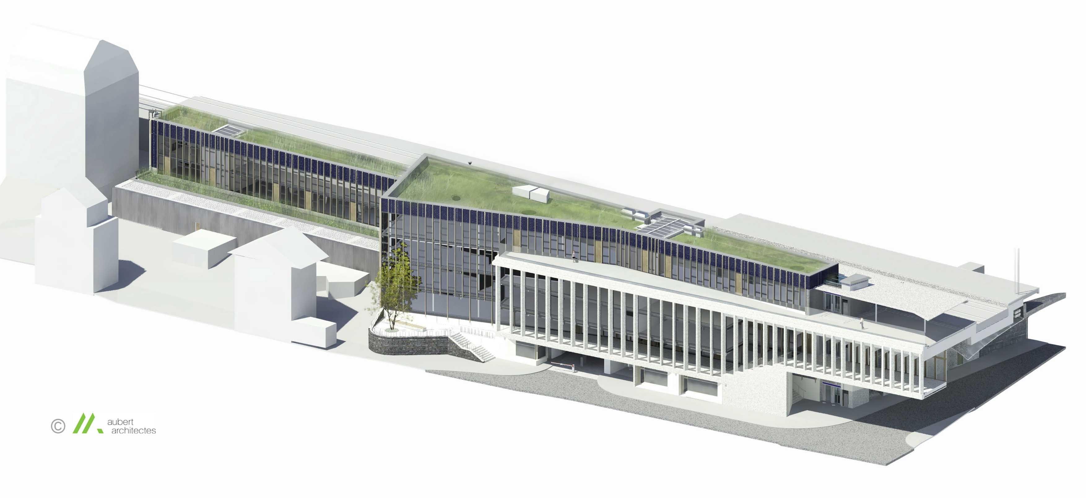Südfassade für neuen Bahnhof Lausanne