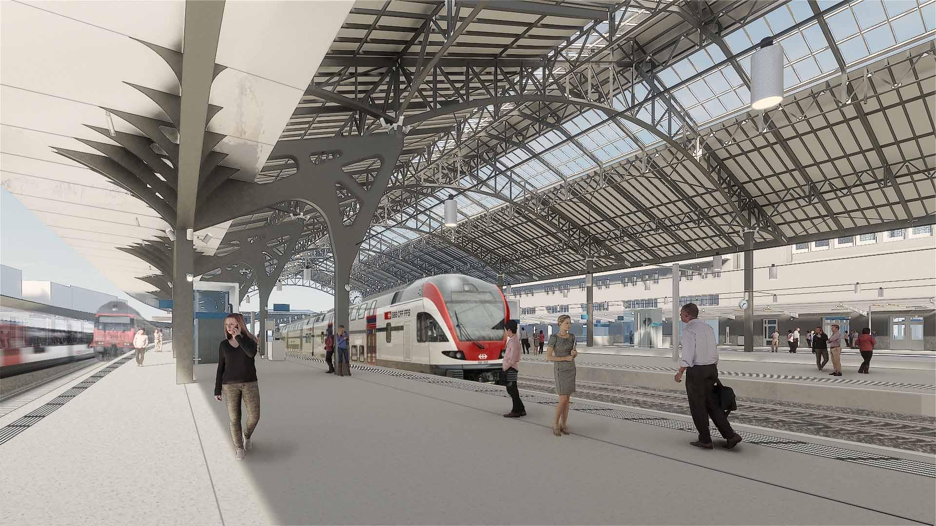 Visualisierung Perronhalle Bahnhof Lausanne