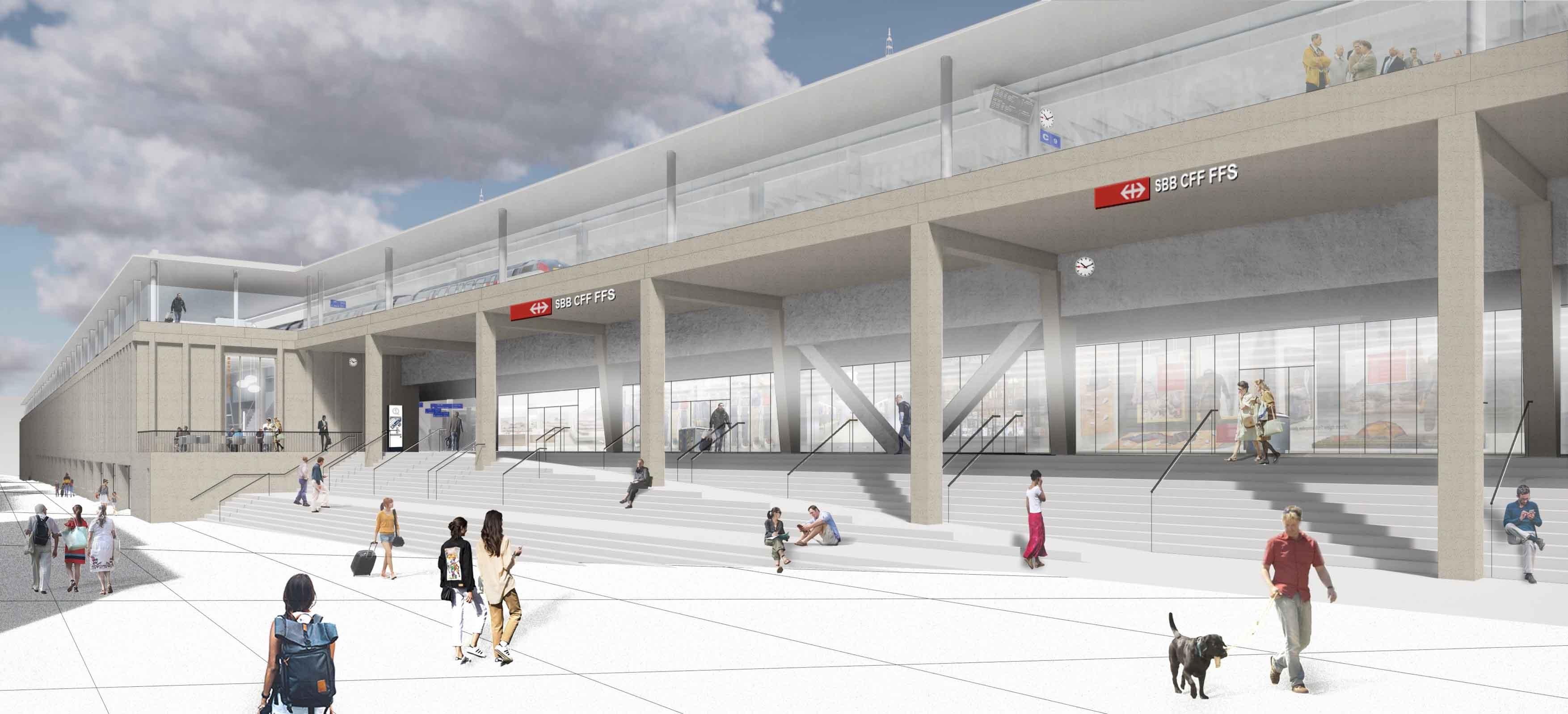 Visualisierung neuer Bahnhof Lausanne