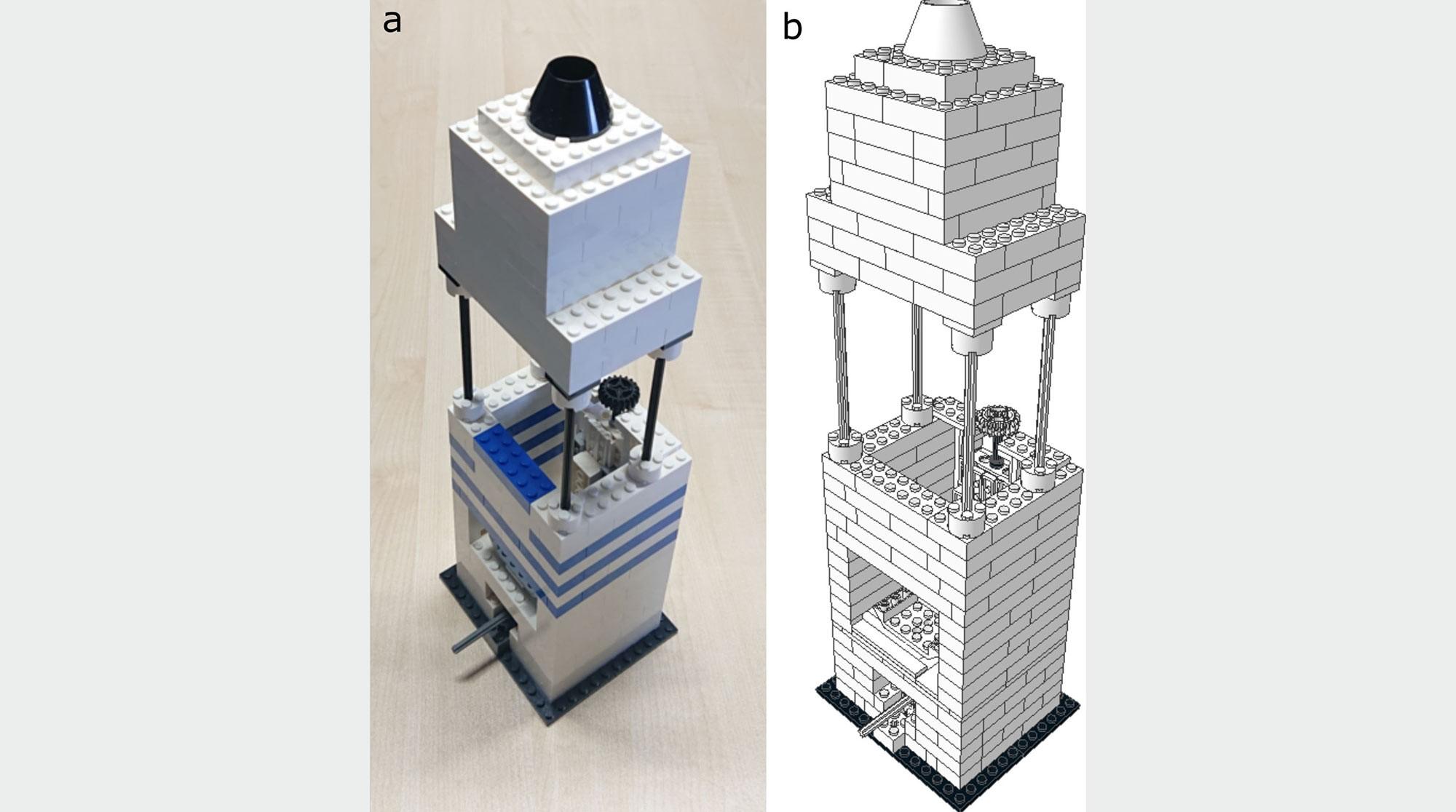 Mikroskop aus Legosteinen und Handy-Linse