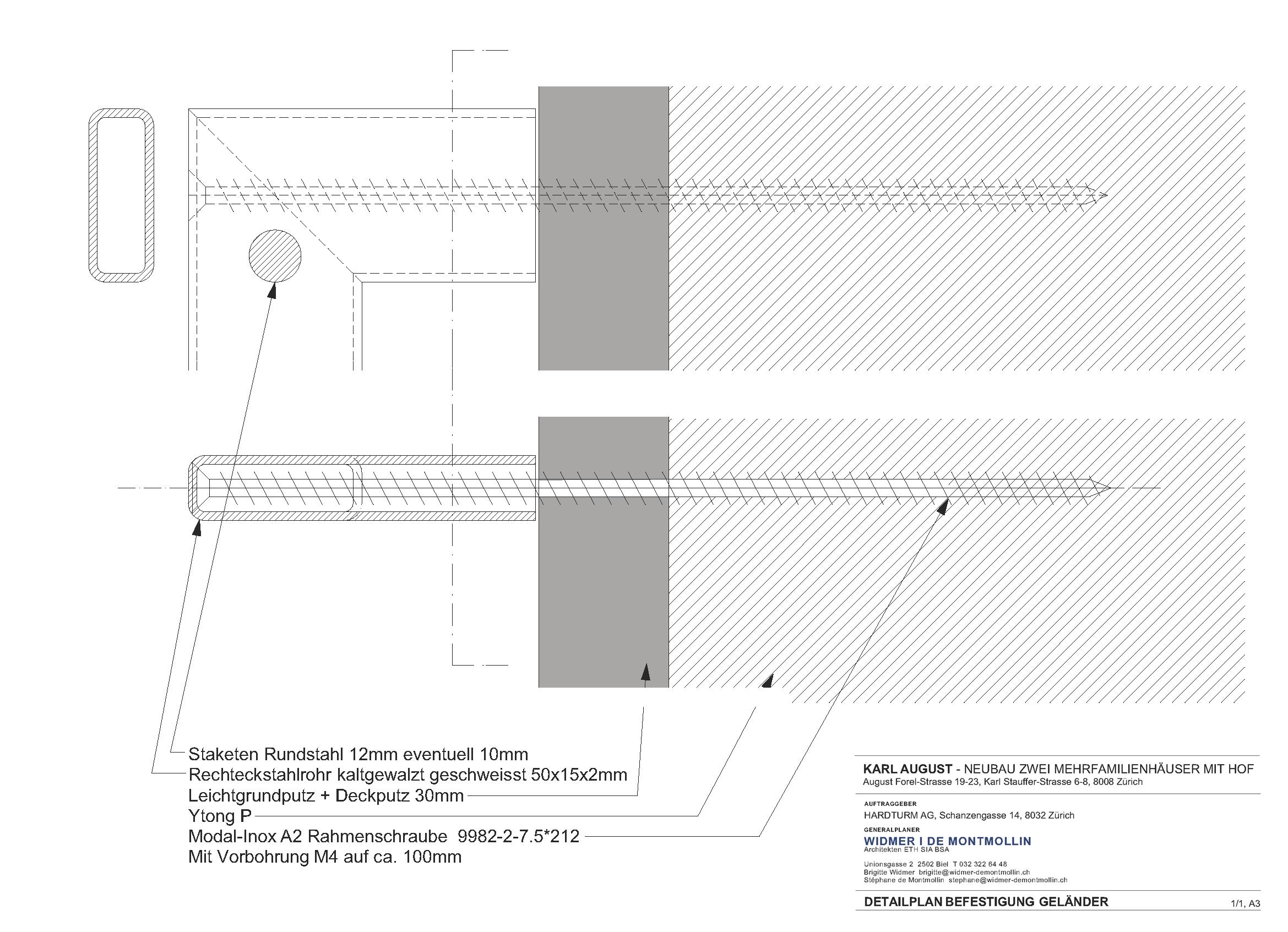 Detailplan Befestigung Geländer