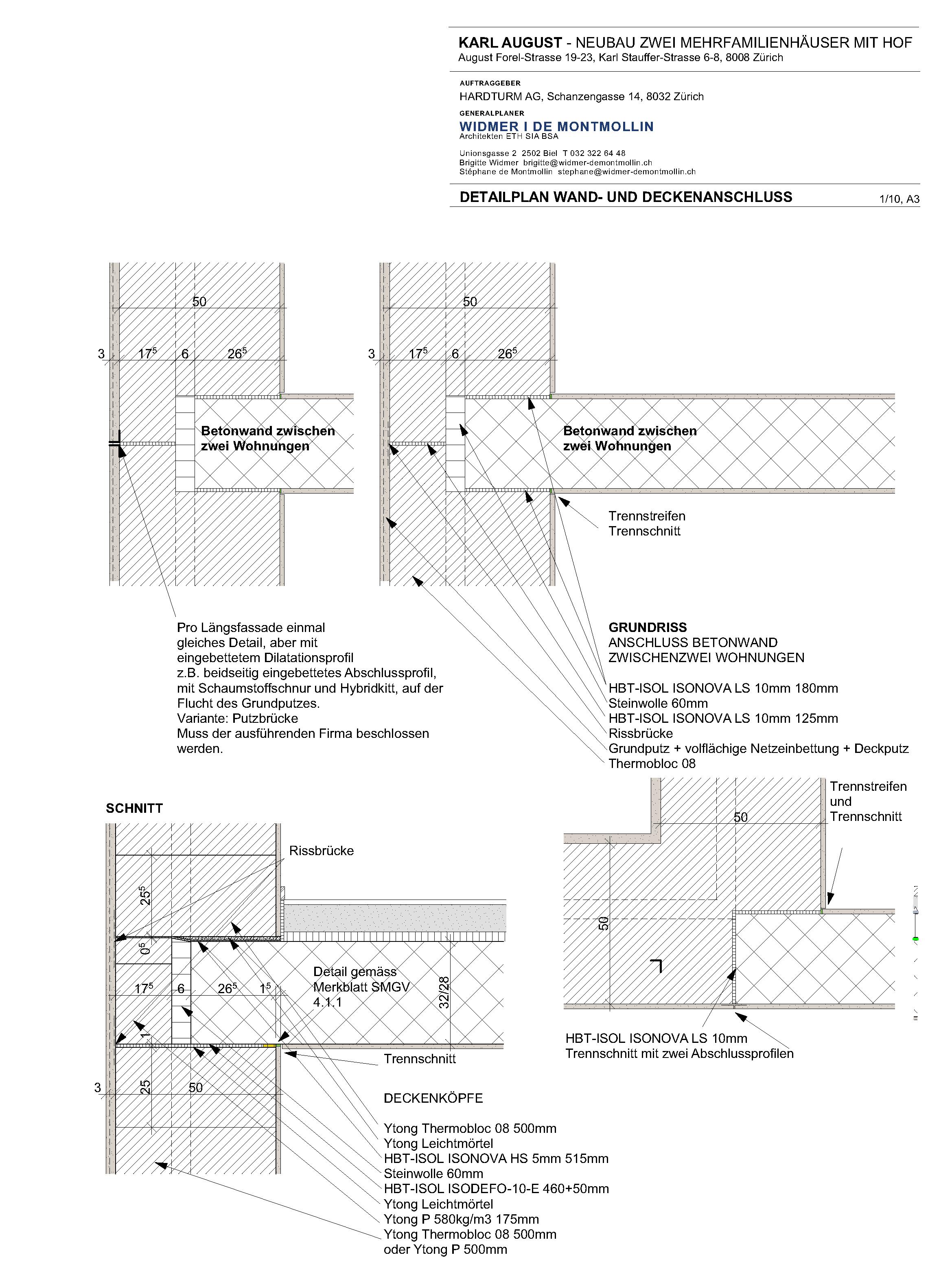 Detailplan Wand-und Deckenanschluss