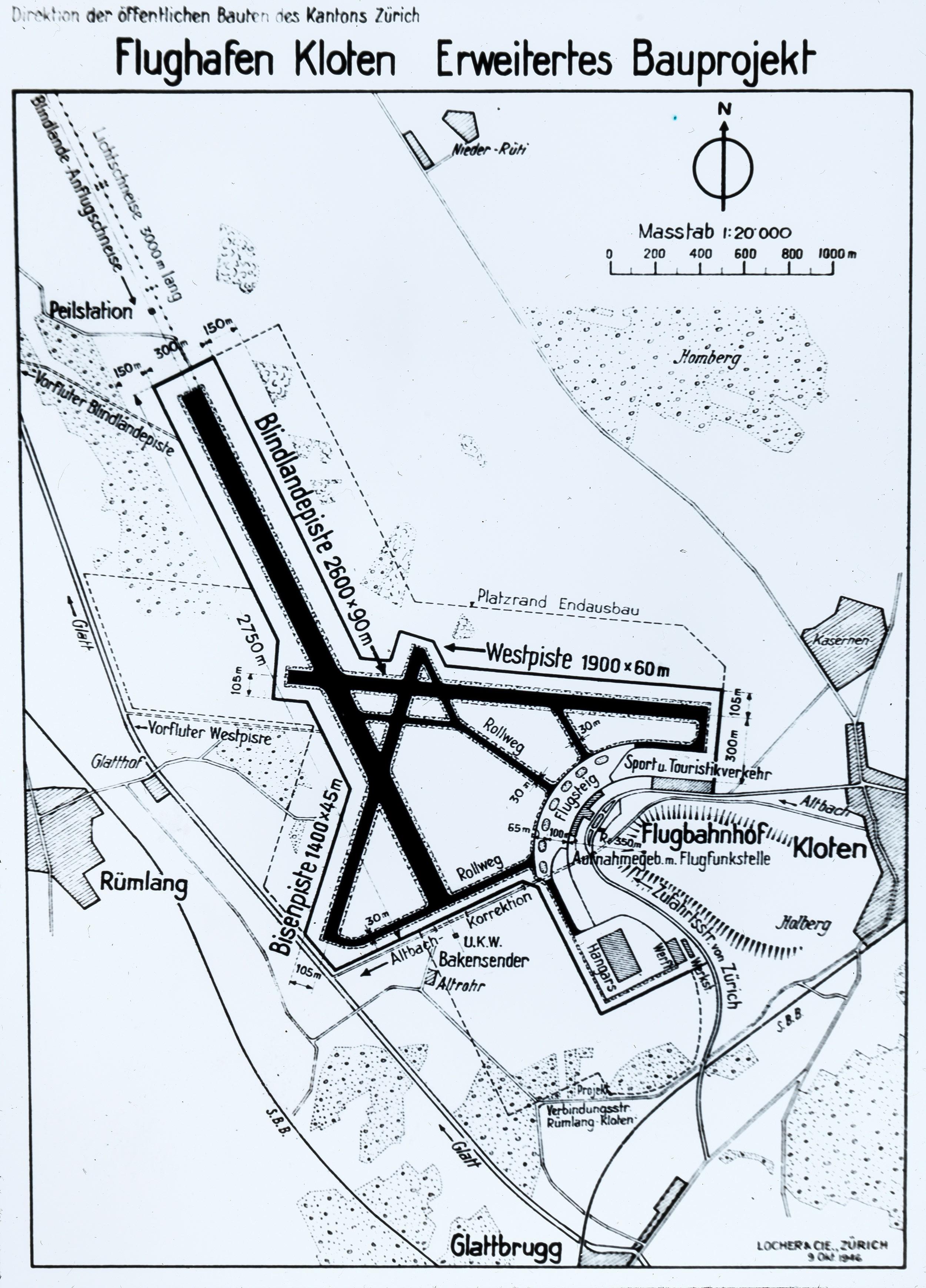 Plan für den Flughafen Zürich-Kloten