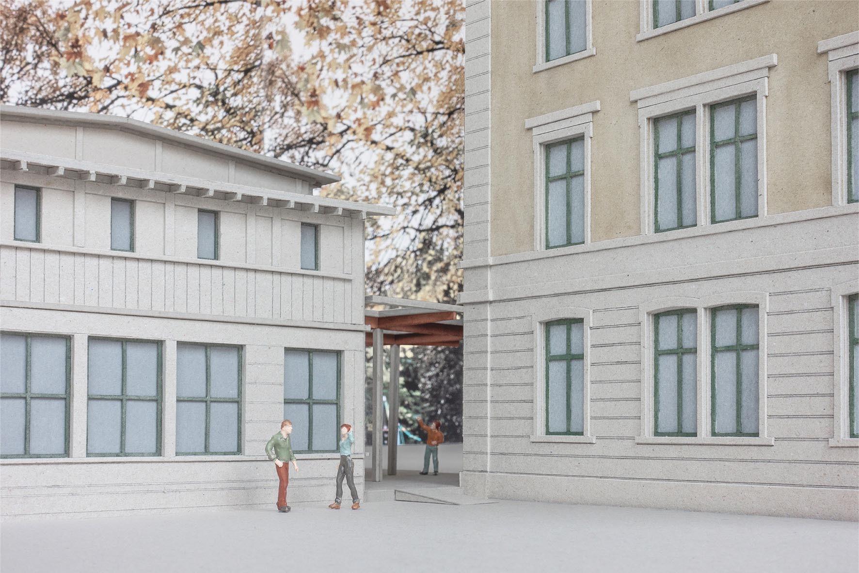 Visualisierung neuer Durchgang Schulanlage Mühlebach in Zürich